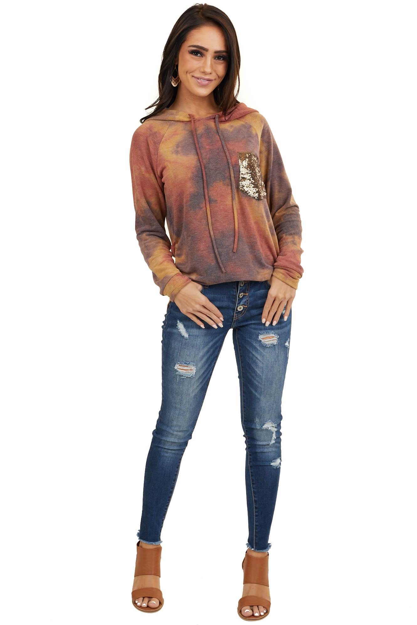 Rust and Dusty Indigo Tie Dye Hoodie with Gold Sequin Pocket