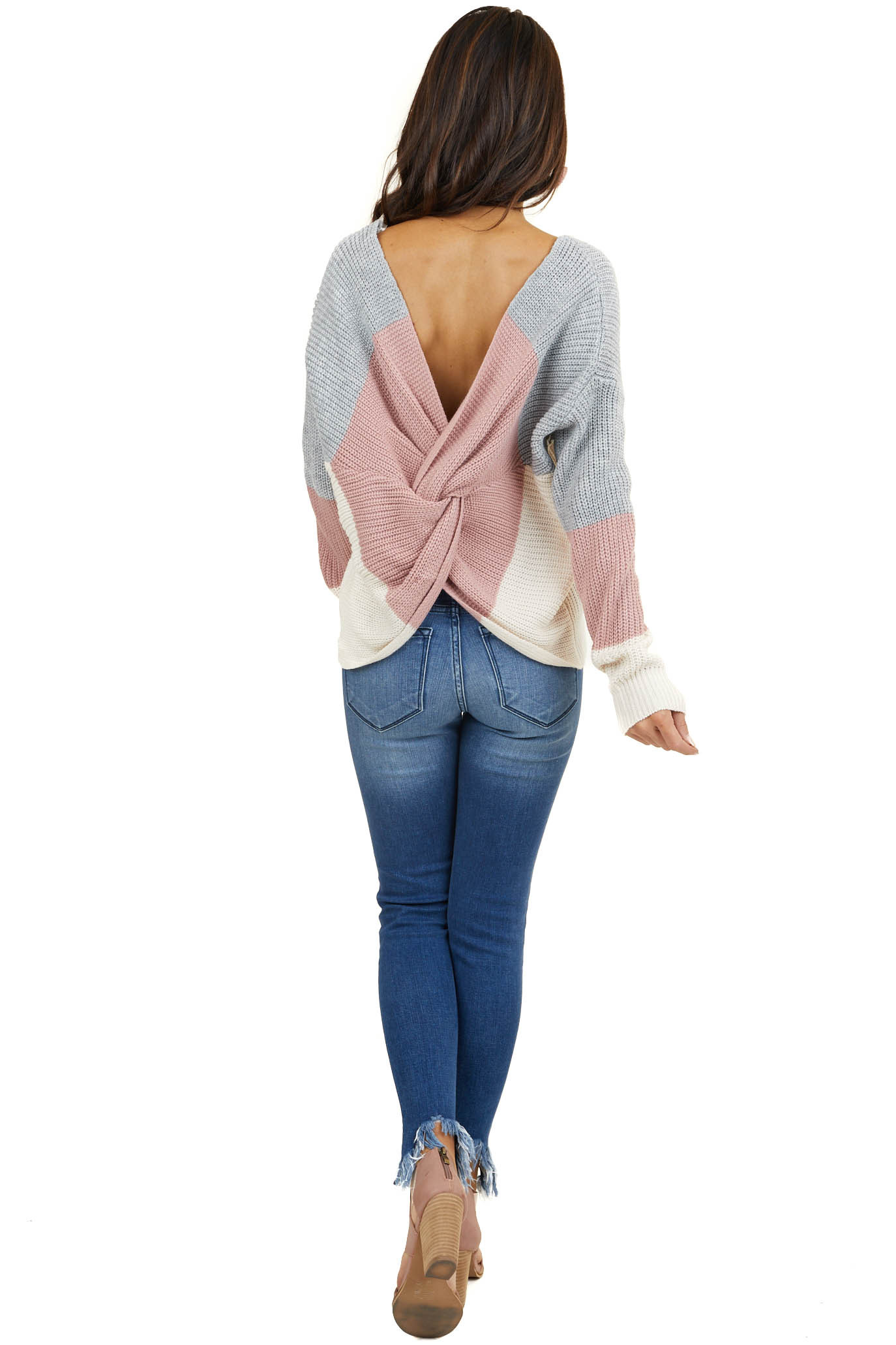 Ivory Colorblock Open Back with Twist Chunky Knit Sweater