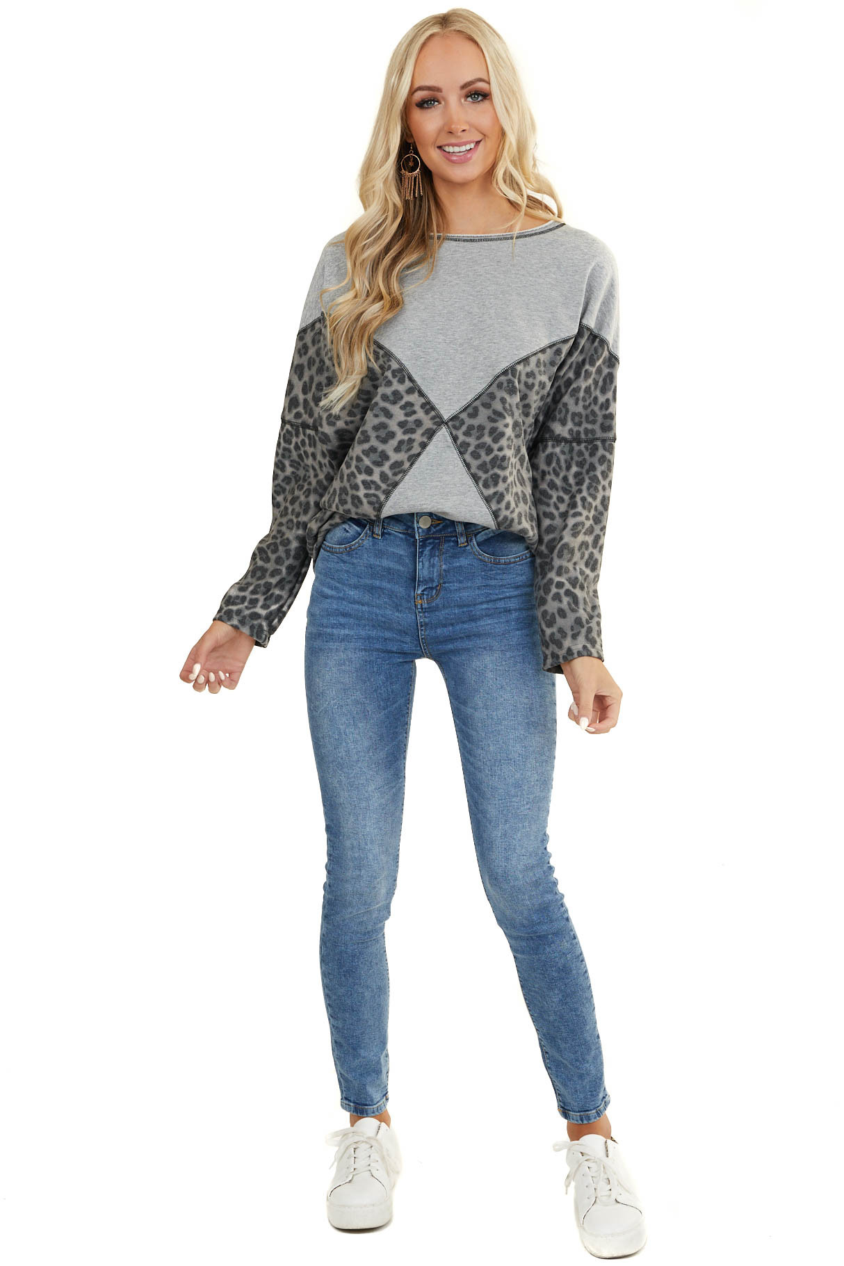 Heather Grey and Leopard Print Long Sleeve Sweater Top