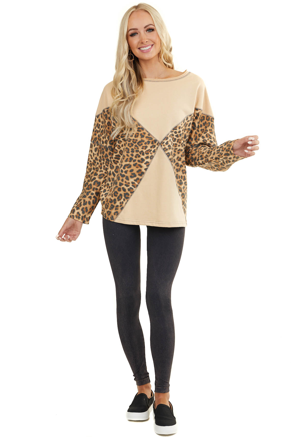 Khaki and Leopard Print Long Sleeve Sweater Top