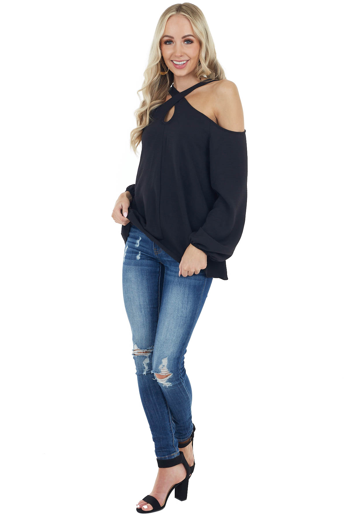Black Woven Cold Shoulder Long Sleeve Top with Crossed Neck