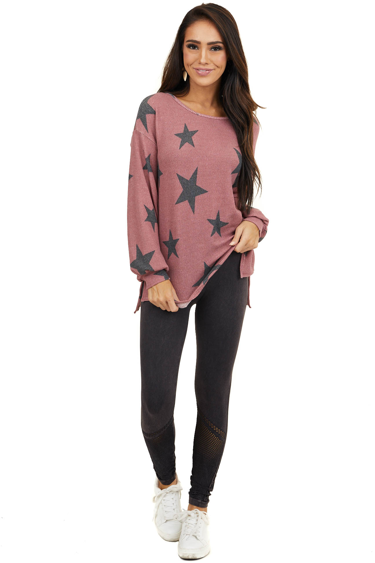 Dusty Mulberry Star Print Textured Top with Criss Cross Back