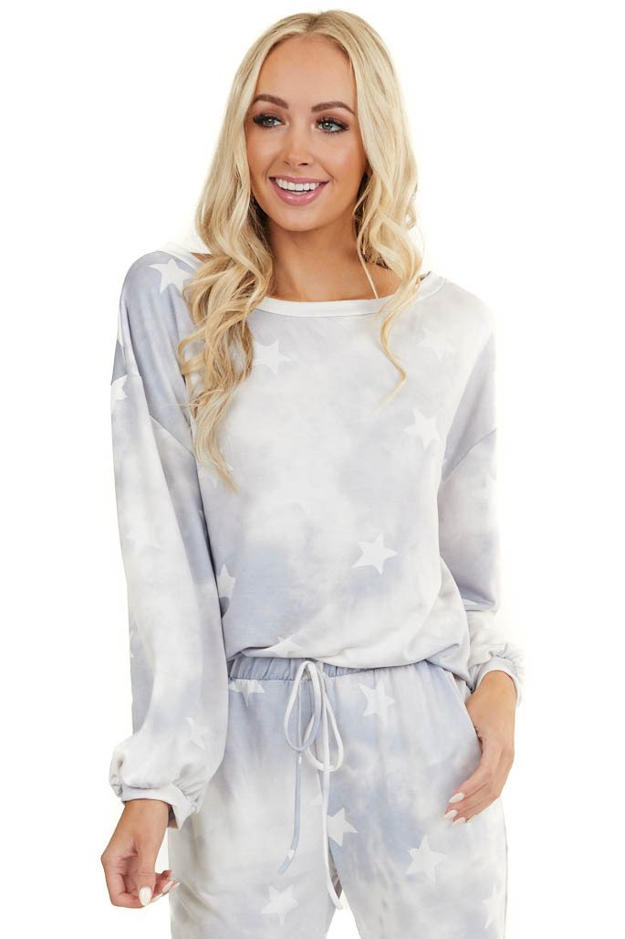 Slate Tie Dye Star Print Super Soft Top with Long Sleeves