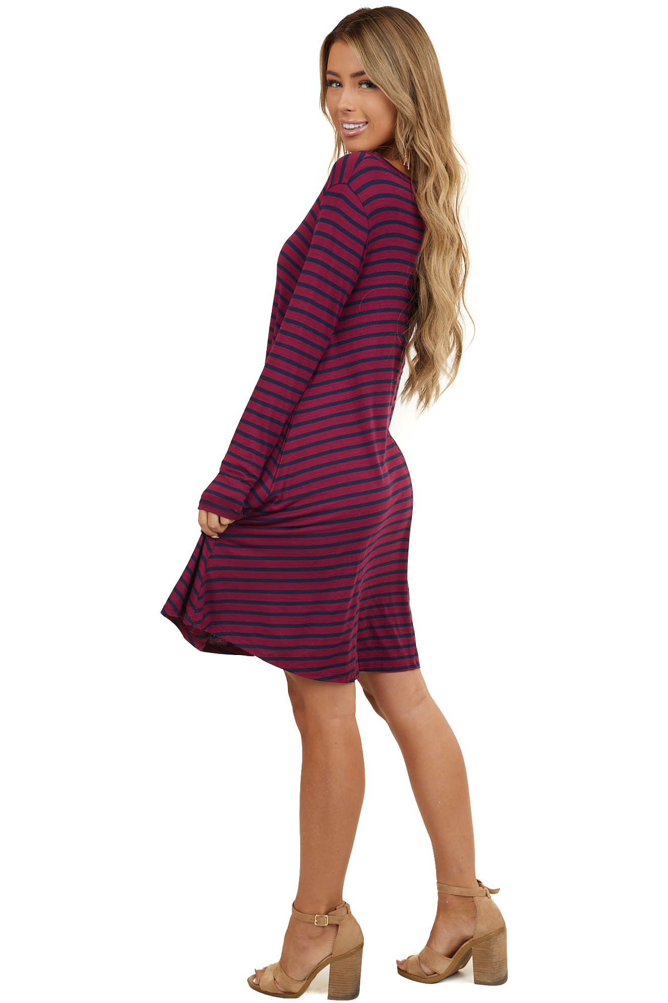 Wine Red and Navy Striped Knit Dress with Long Sleeves