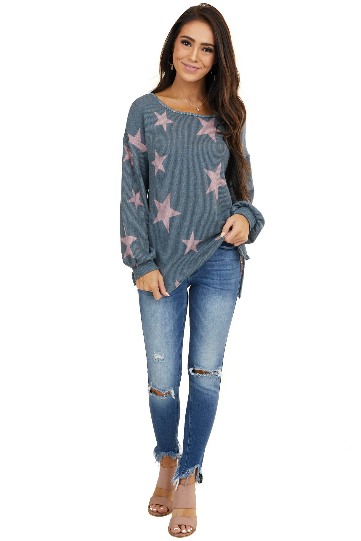 Stormy Grey Star Print Textured Top with Criss Cross Back