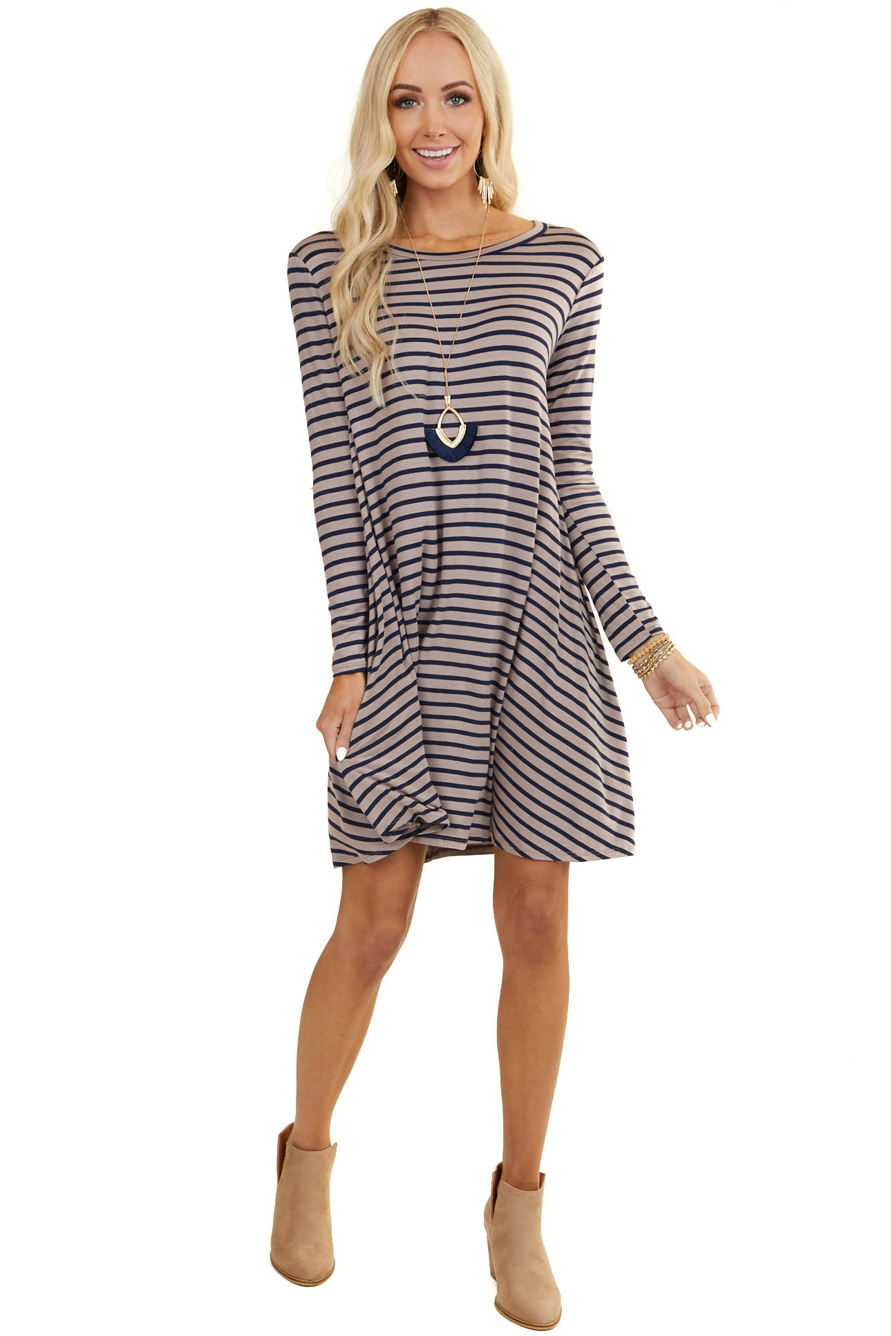 Latte and Navy Striped Knit Dress with Long Sleeves