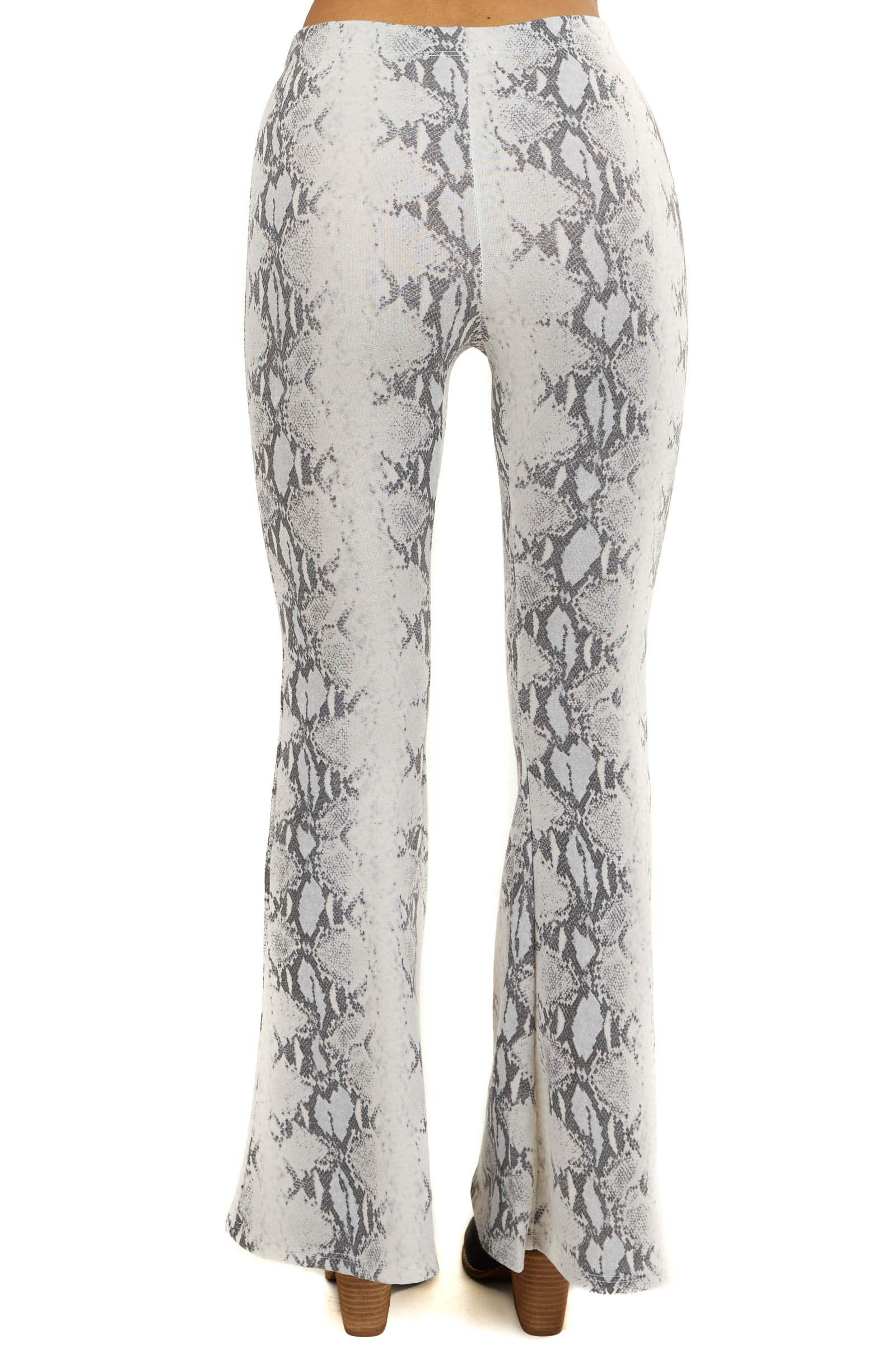 Ivory Snakeskin Bell Bottom Pants with Elastic Waistband