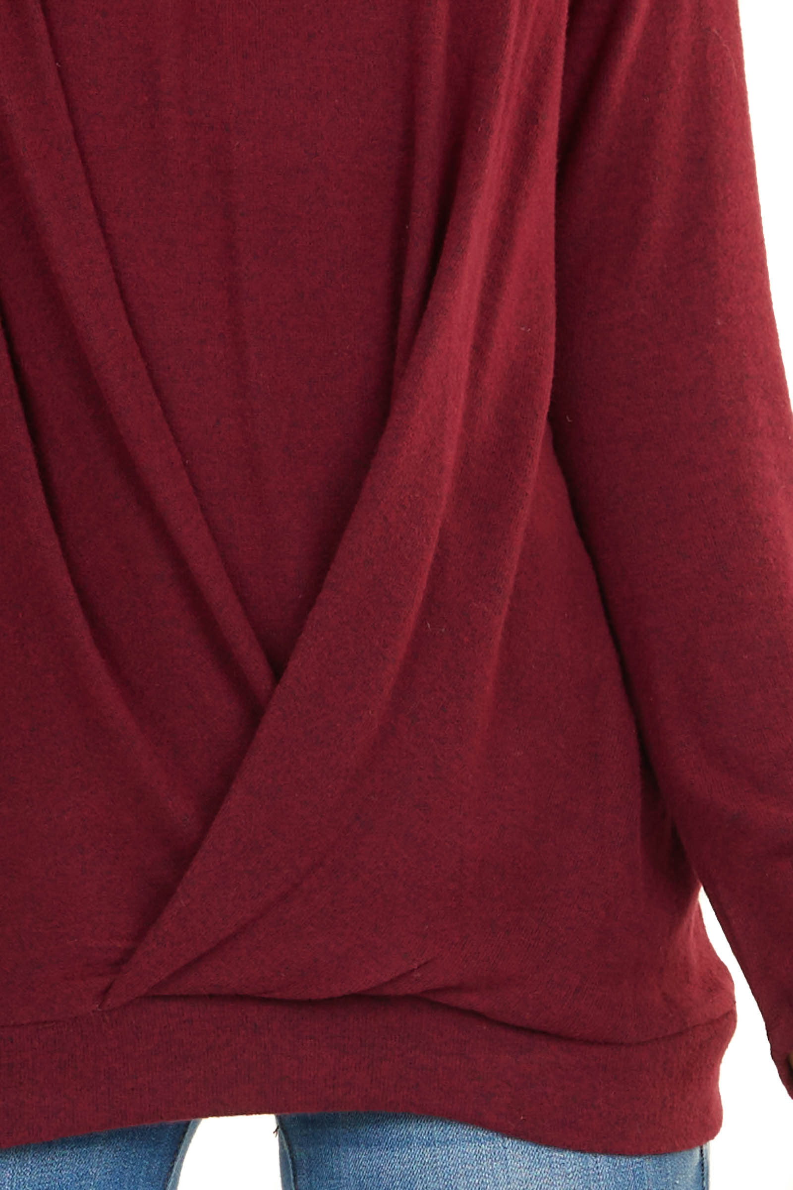 Heathered Burgundy Long Sleeve Top with Front Twist Details