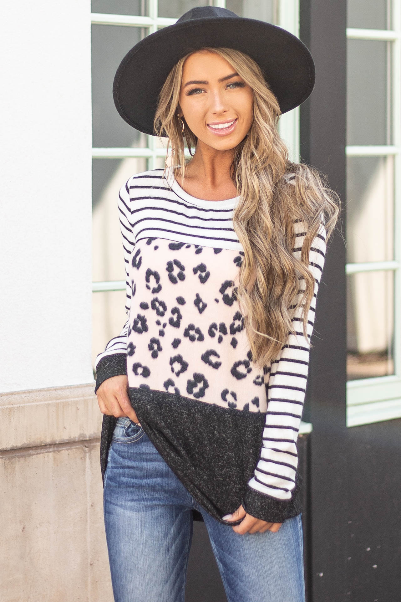 Black Striped Knit Top with Blush Leopard Print Colorblock