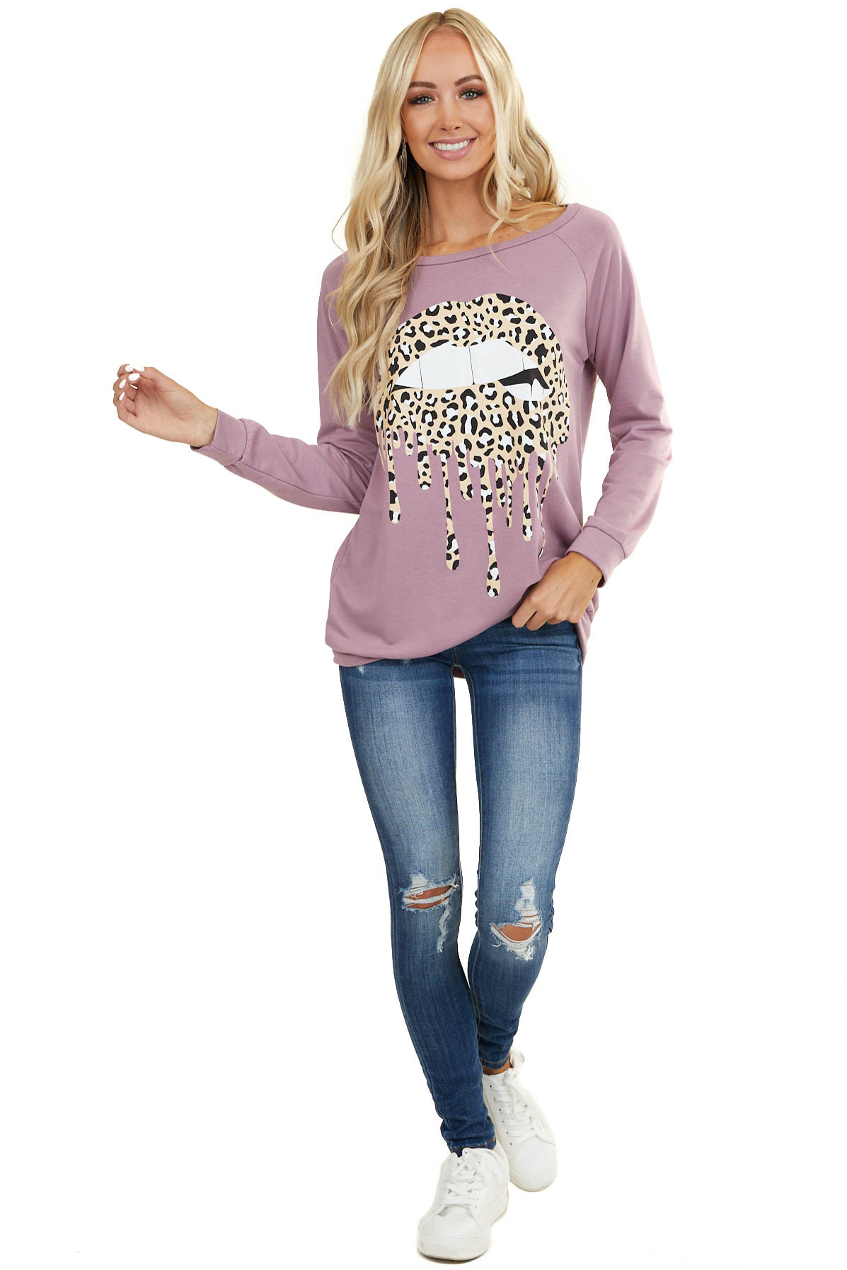 Mauve Long Sleeve Knit Top with Leopard Dripping Lip Graphic