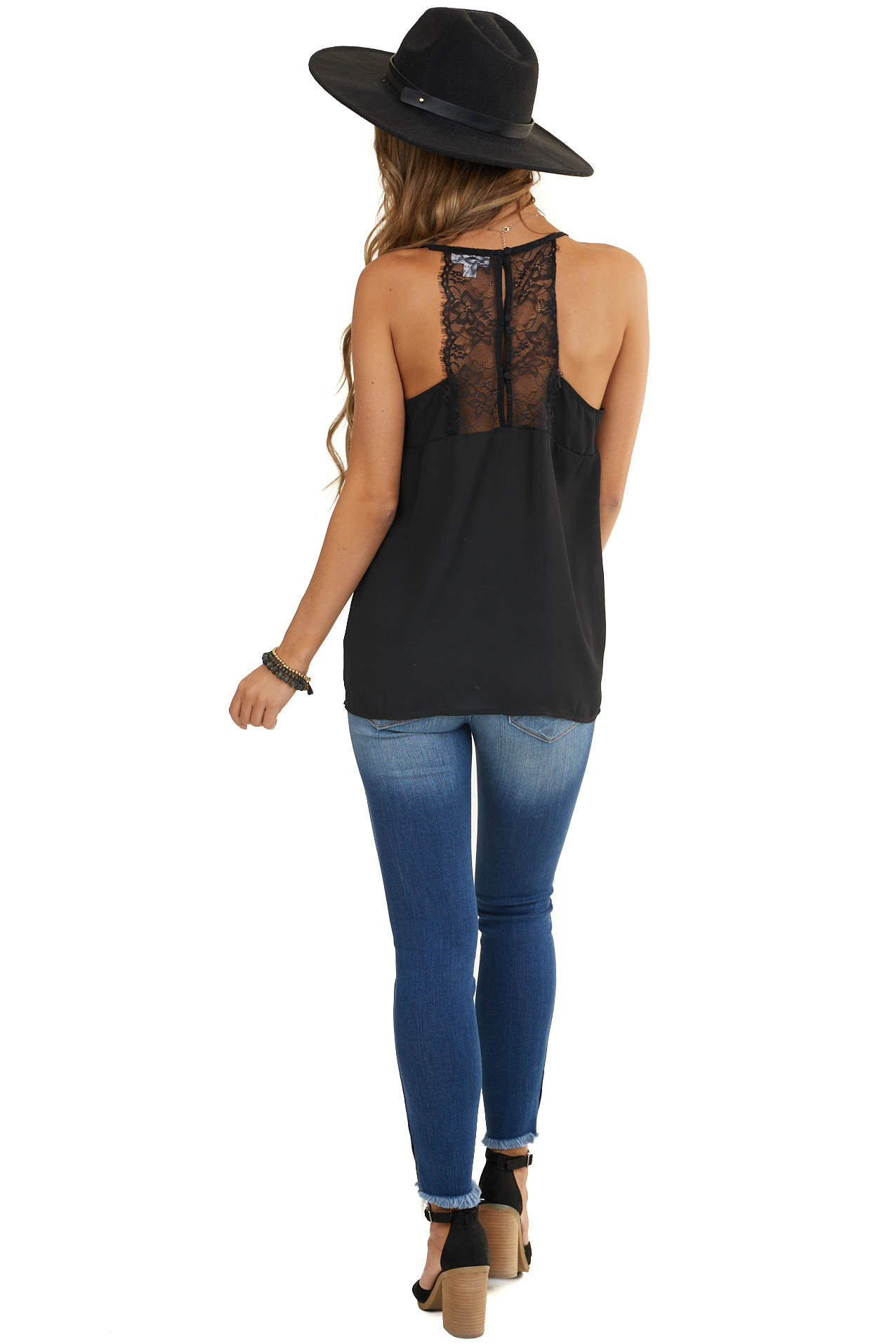 Black Sleeveless Racerback Woven Top with Lace Detail