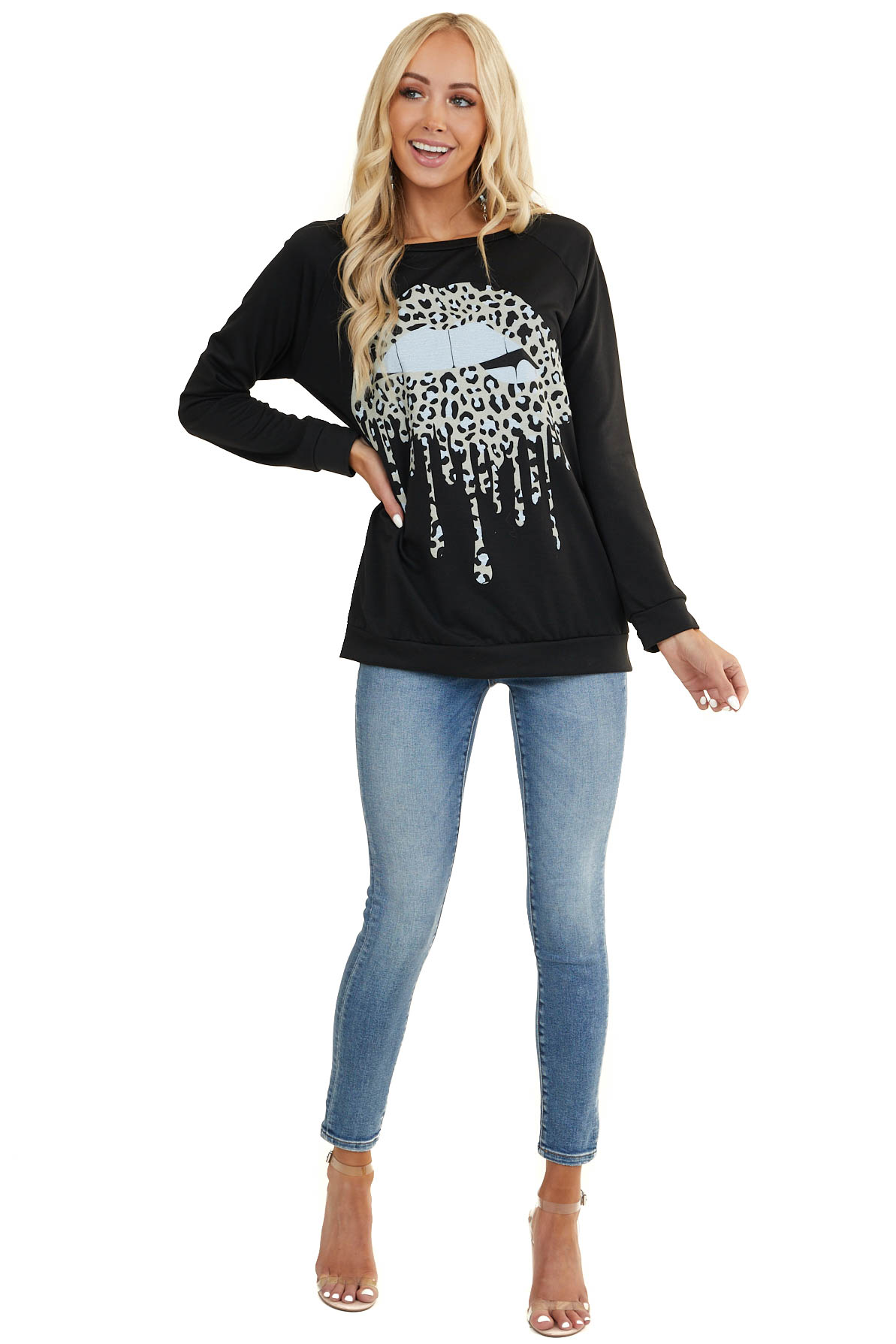 Black Long Sleeve Knit Top with Leopard Dripping Lip Graphic