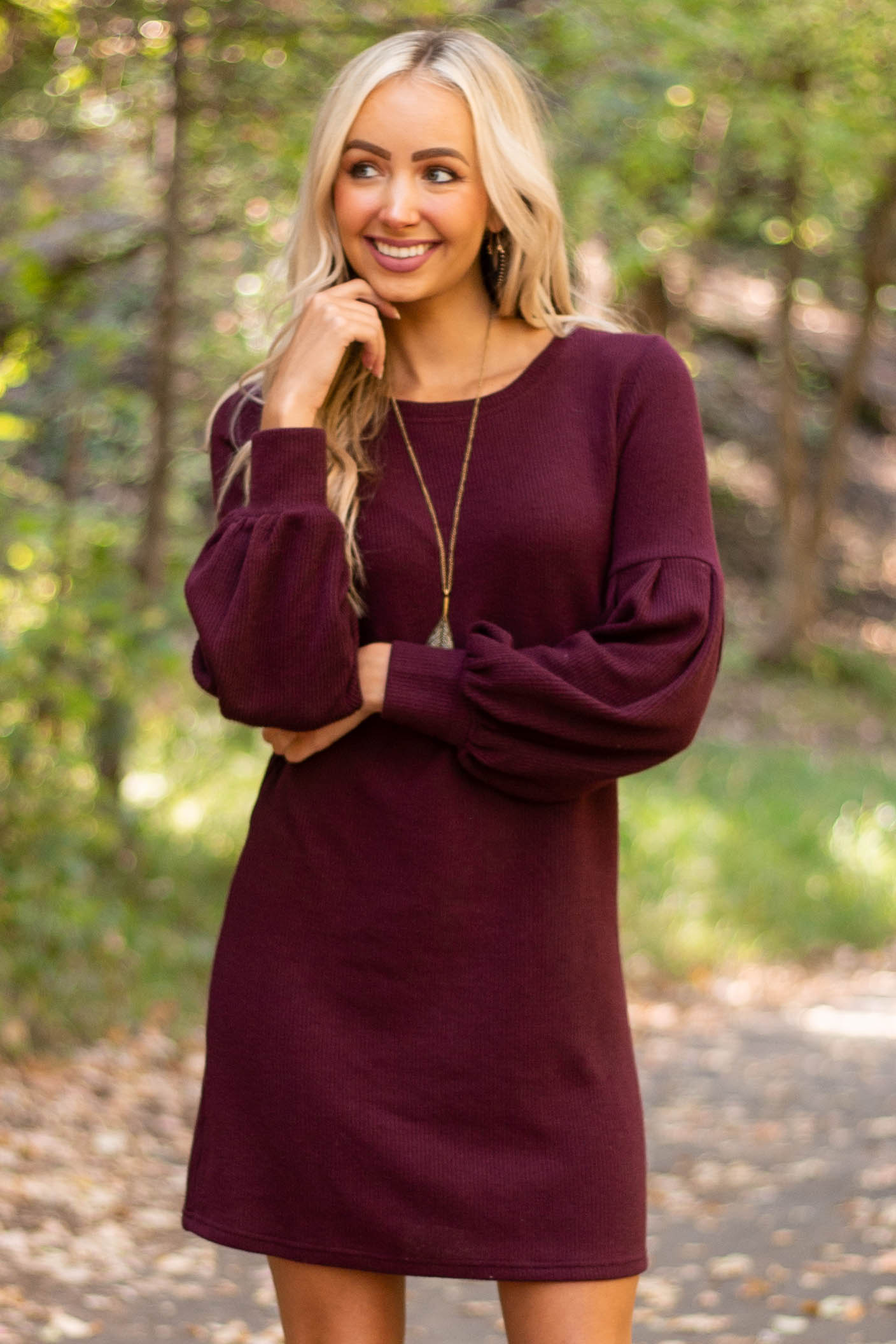 Eggplant Ribbed Mini Dress with Long Bubble Sleeves