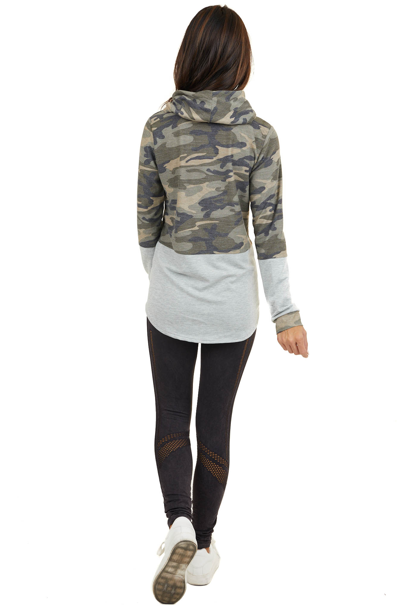 Olive Camo Colorblock Long Sleeve Top with Cowl Neckline