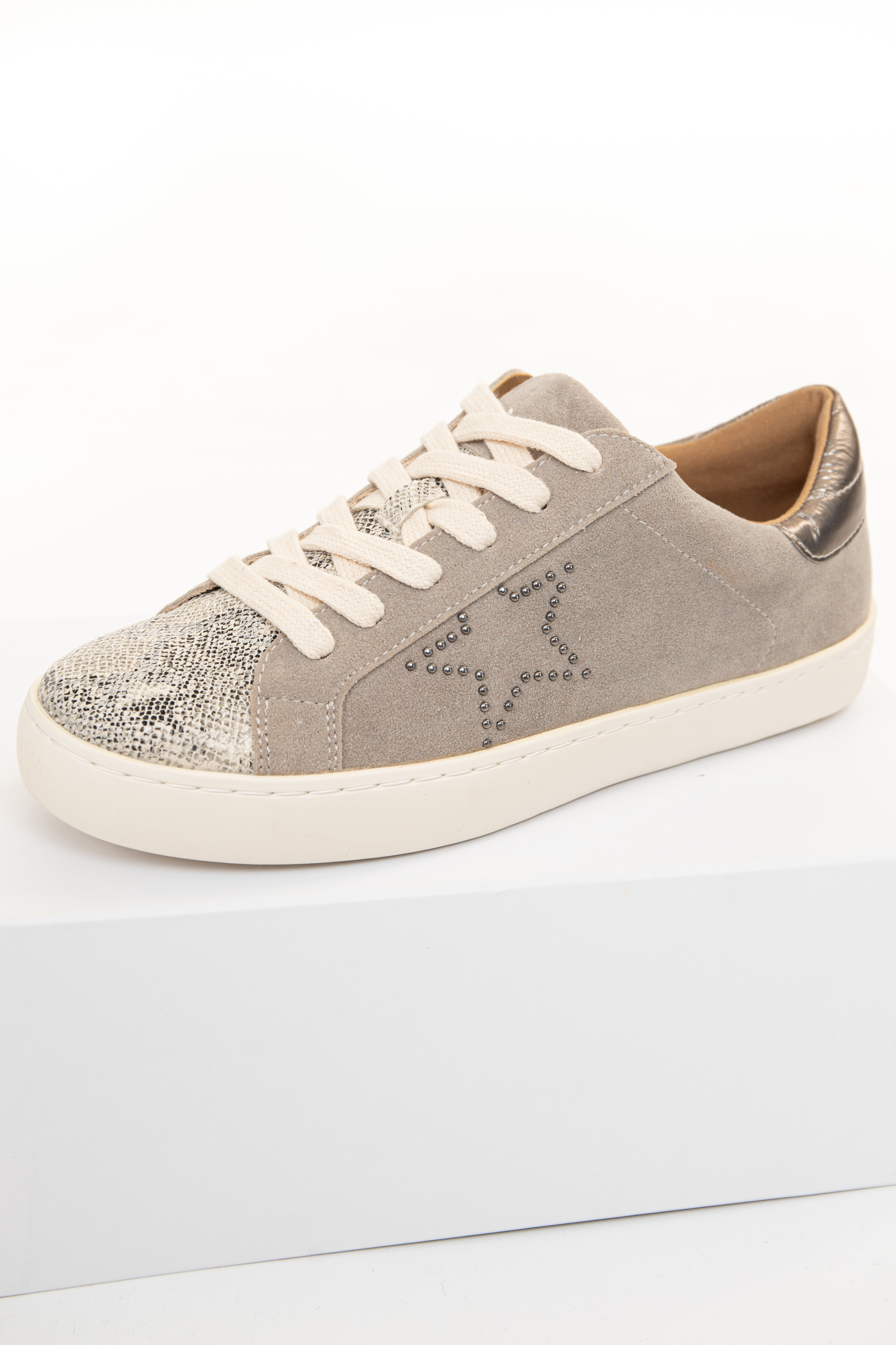Taupe Faux Suede and Snakeskin Print Lace Up Sneakers