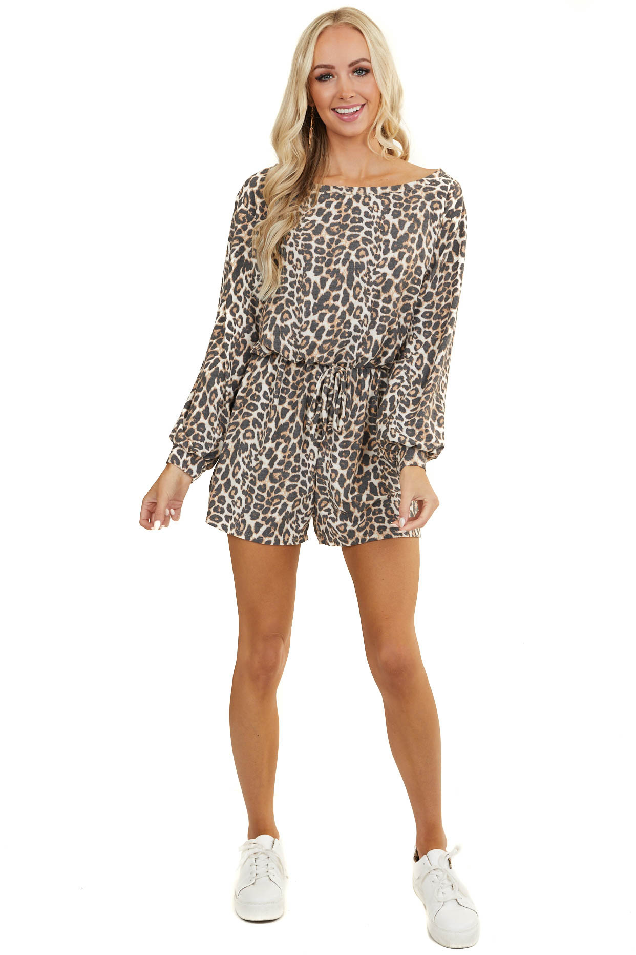 Ivory Leopard Print Long Sleeve Knit Romper with Tie Detail