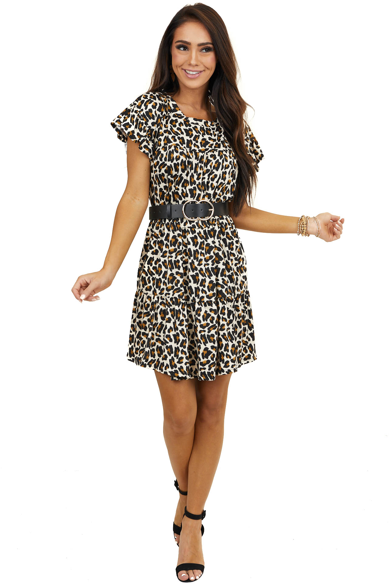 Cream Leopard Print Tiered Dress with Short Ruffle Sleeves