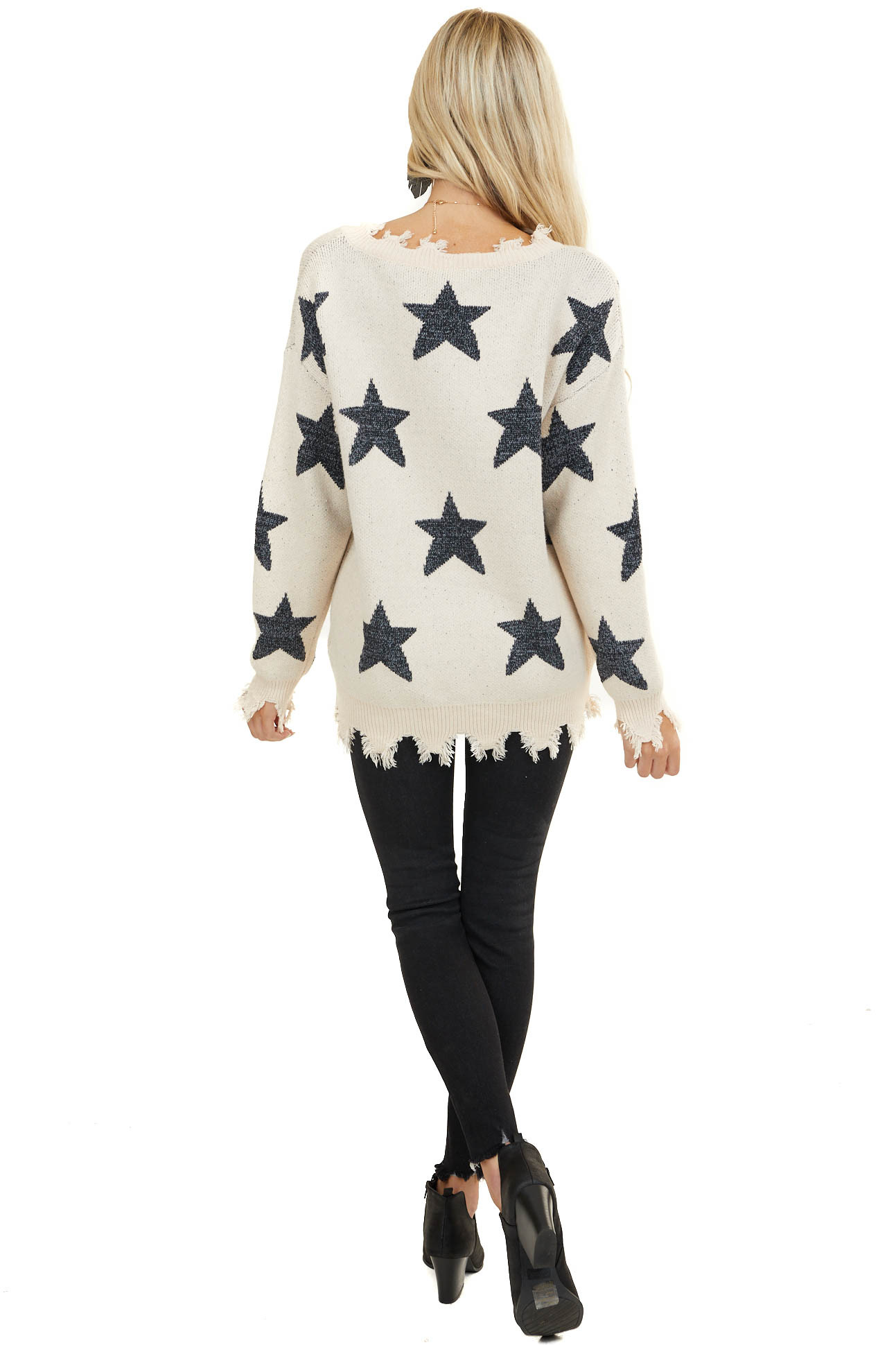 Cream Sweater with Charcoal Stars and Distressed Details
