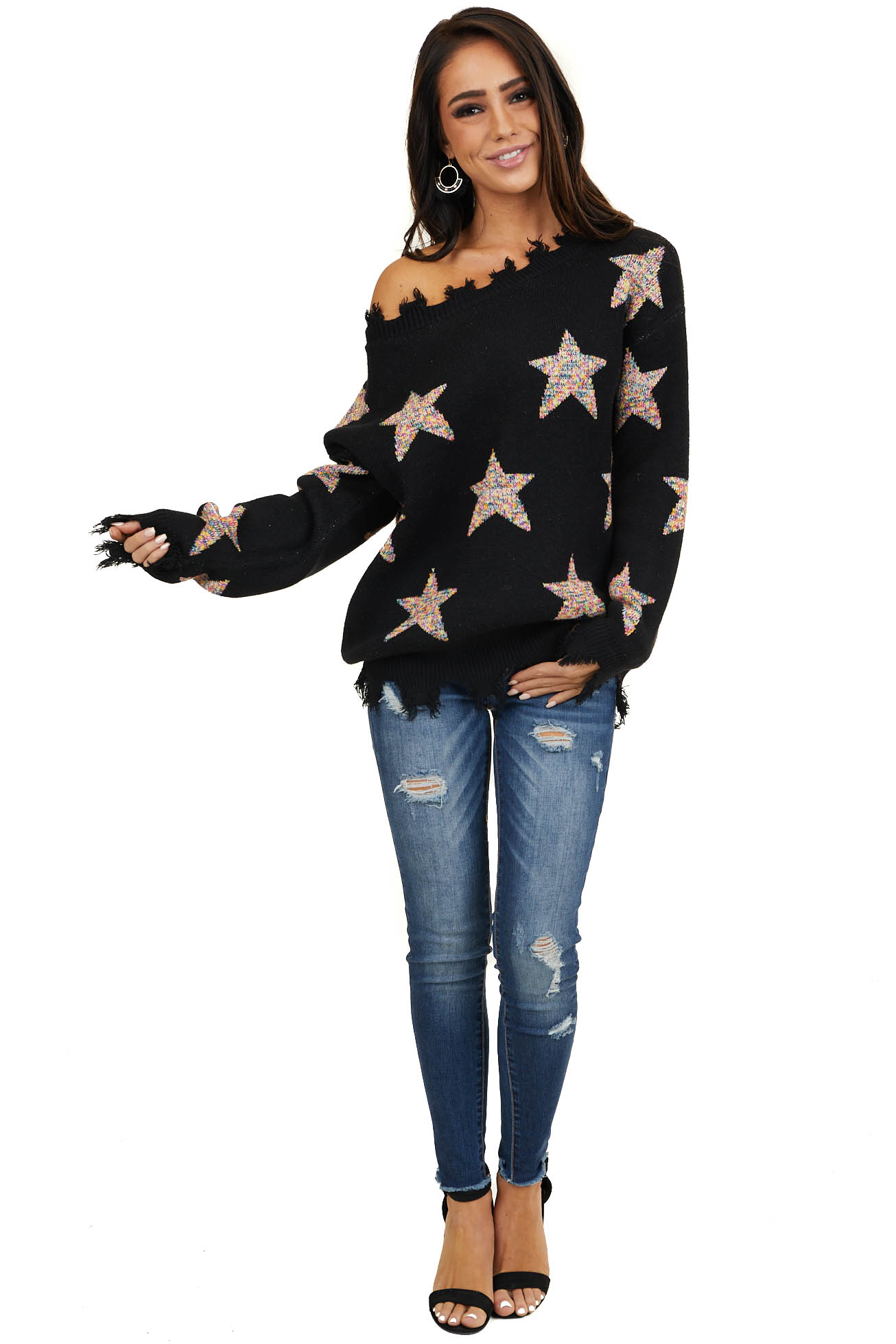 Black Sweater with Rainbow Stars and Distressed Details