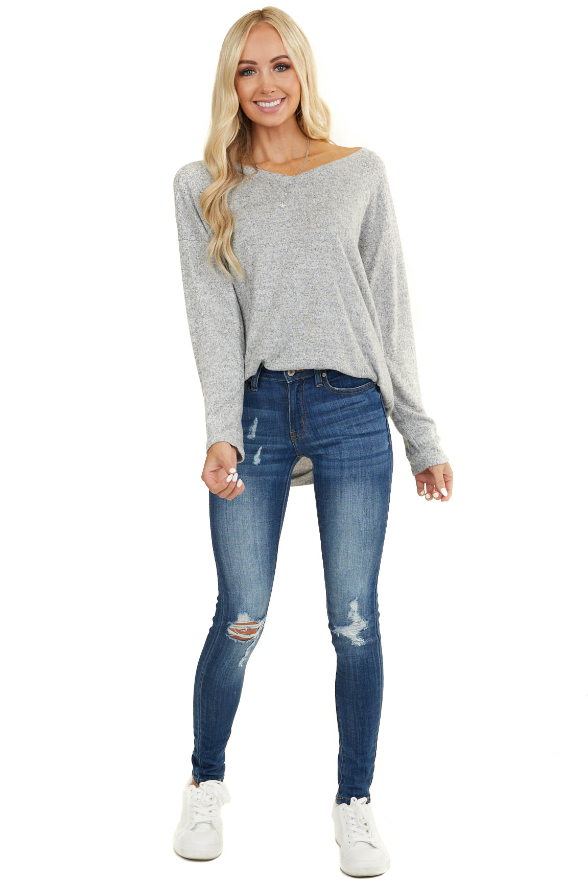 Heather Grey Long Sleeve Top with Back Criss Cross Detail