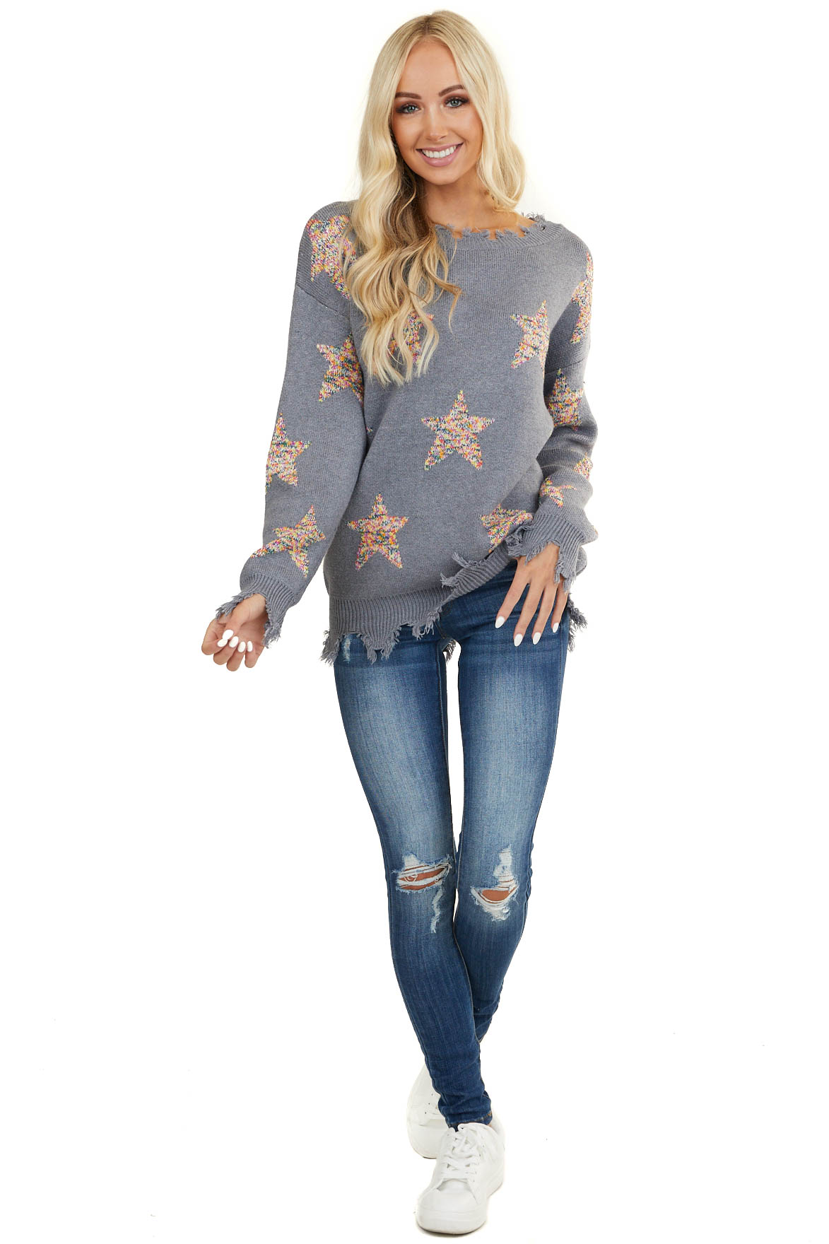 Dark Grey Sweater with Rainbow Stars and Distressed Details