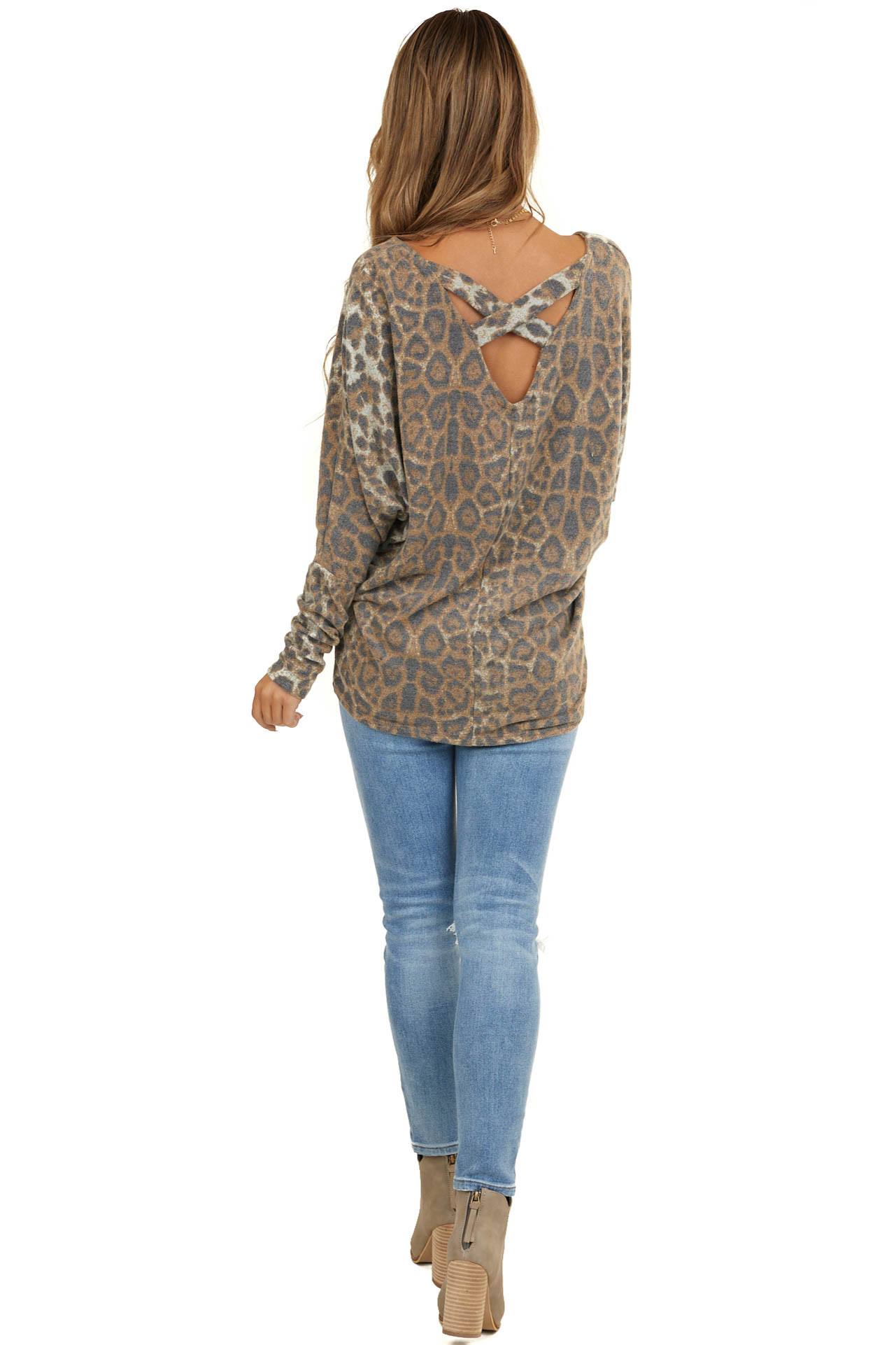 Camel and Charcoal Leopard Print Top with Long Sleeves