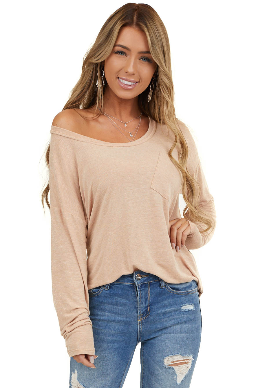 Desert Sand Long Sleeve Knit Top With Front Pocket Detail