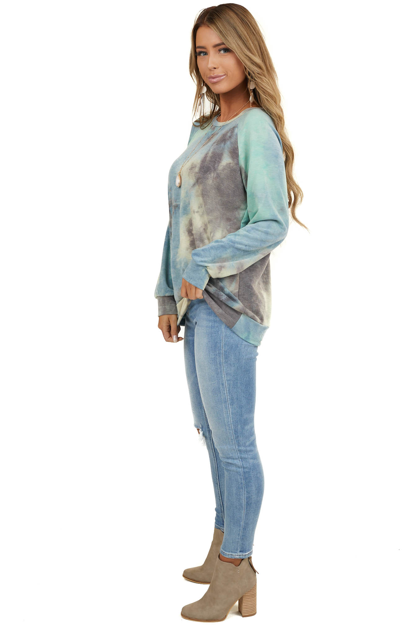 Dusty Blue and Charcoal Tie Dye Top with Long Sleeves
