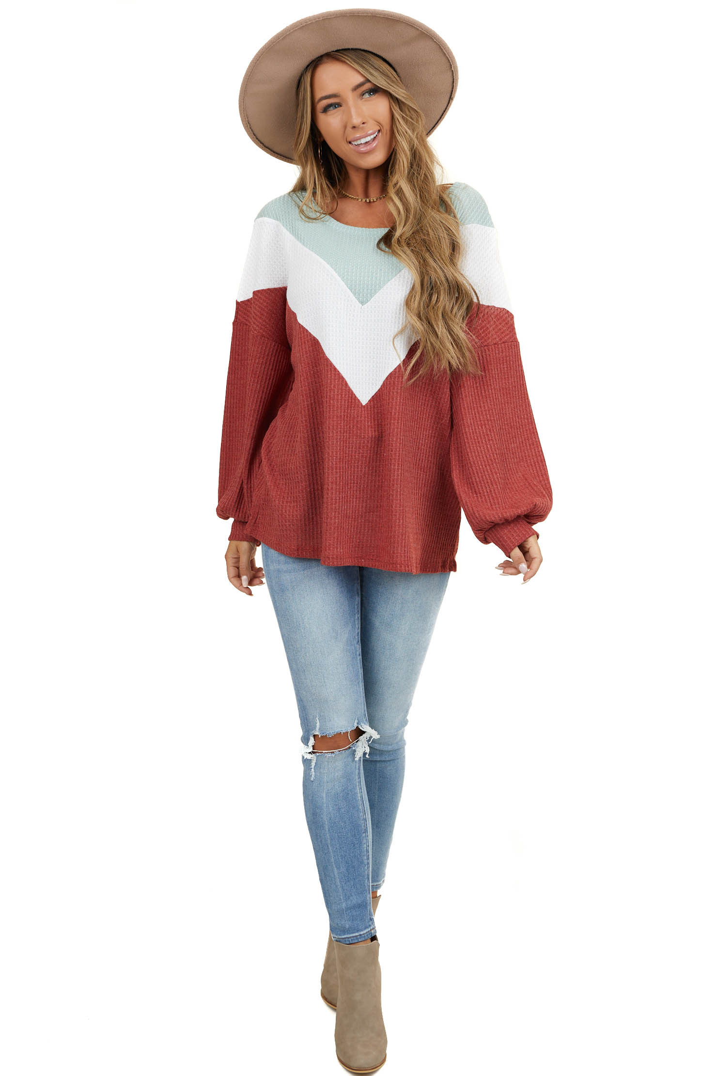 Faded Ruby Chevron Colorblock Waffle Knit Long Sleeve Top