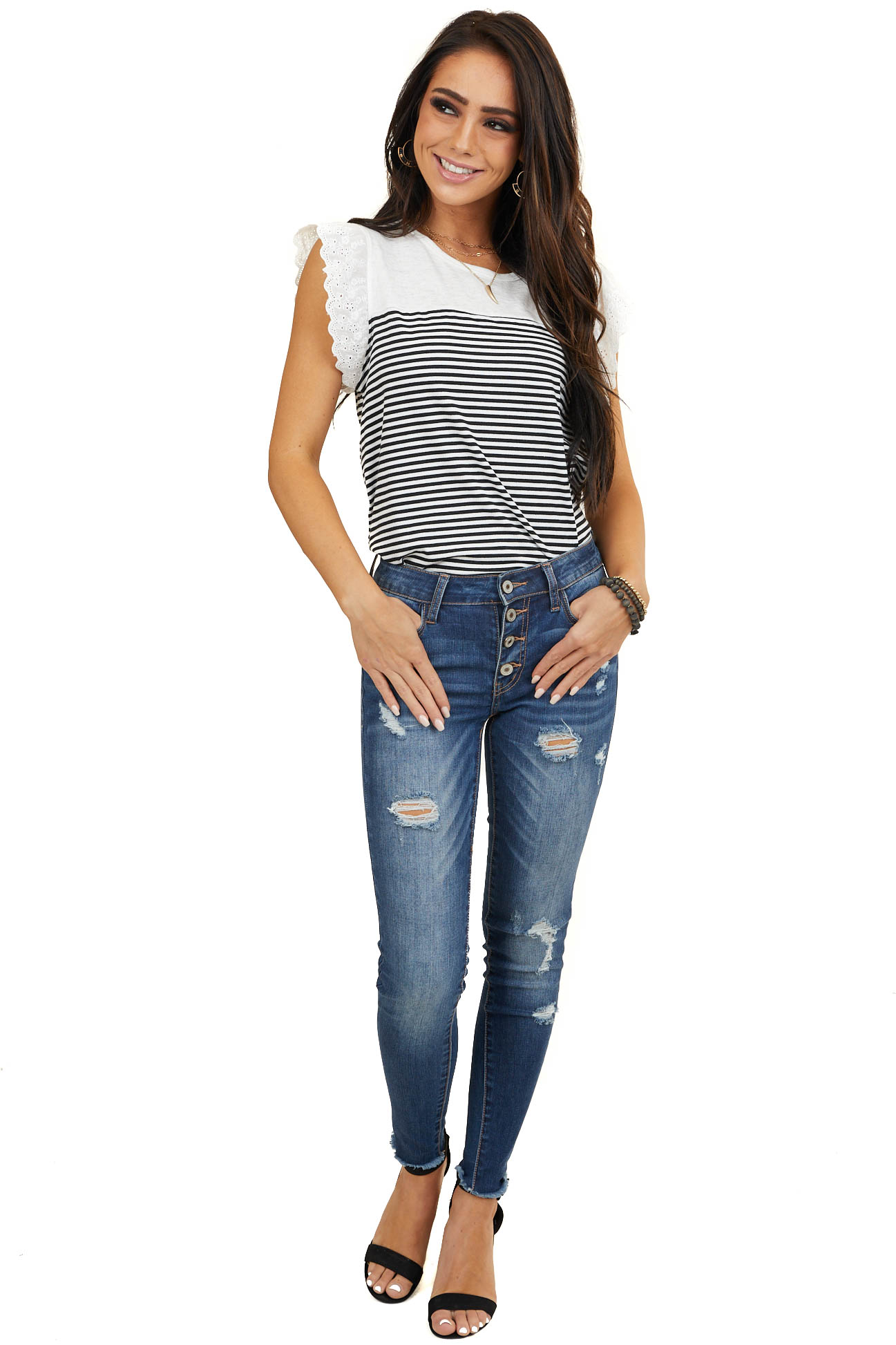 Black and White Striped Top with Short Eyelet Lace Sleeves