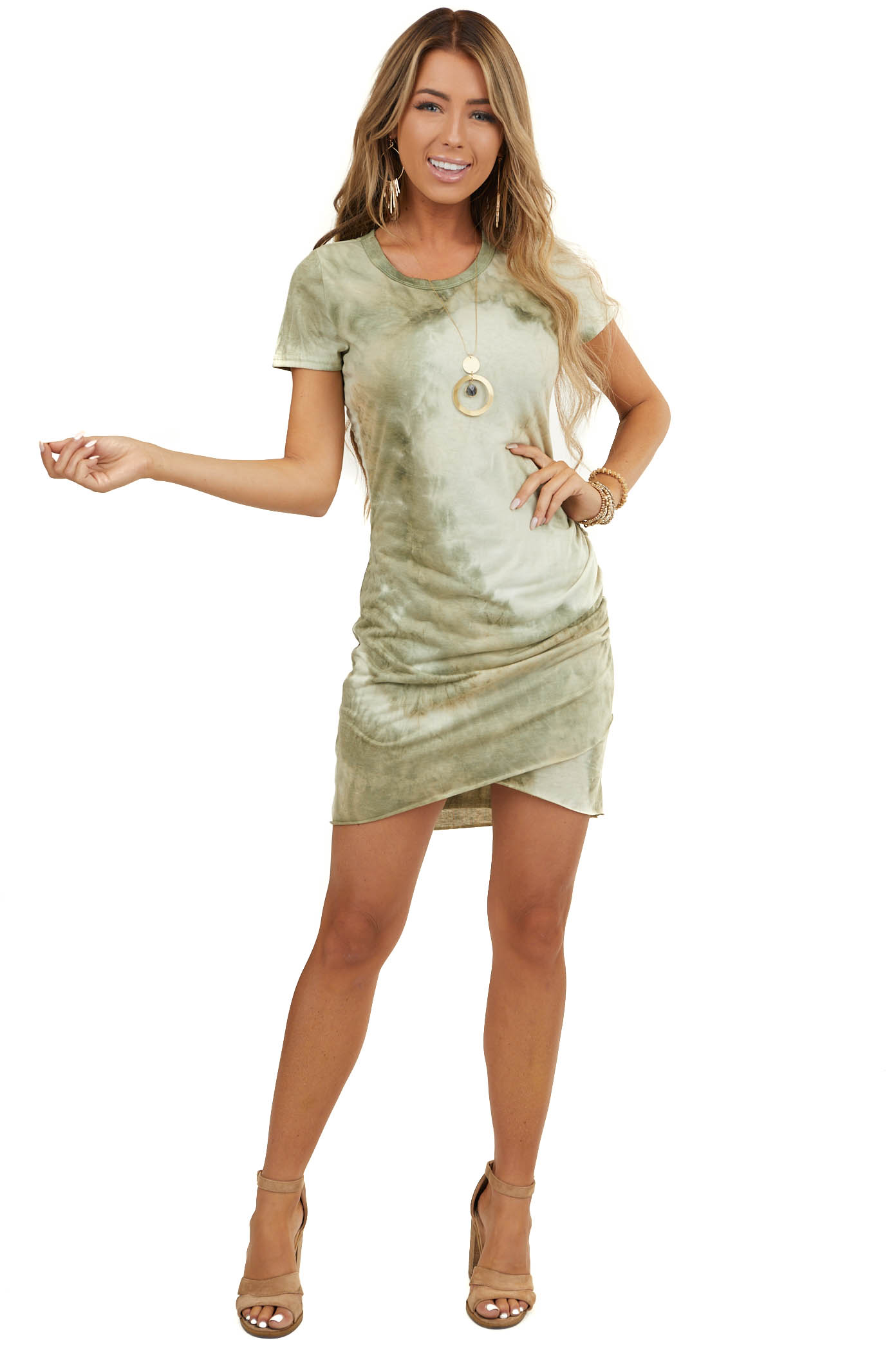 Moss Green Tie Dye Short Dress with Side Ruching