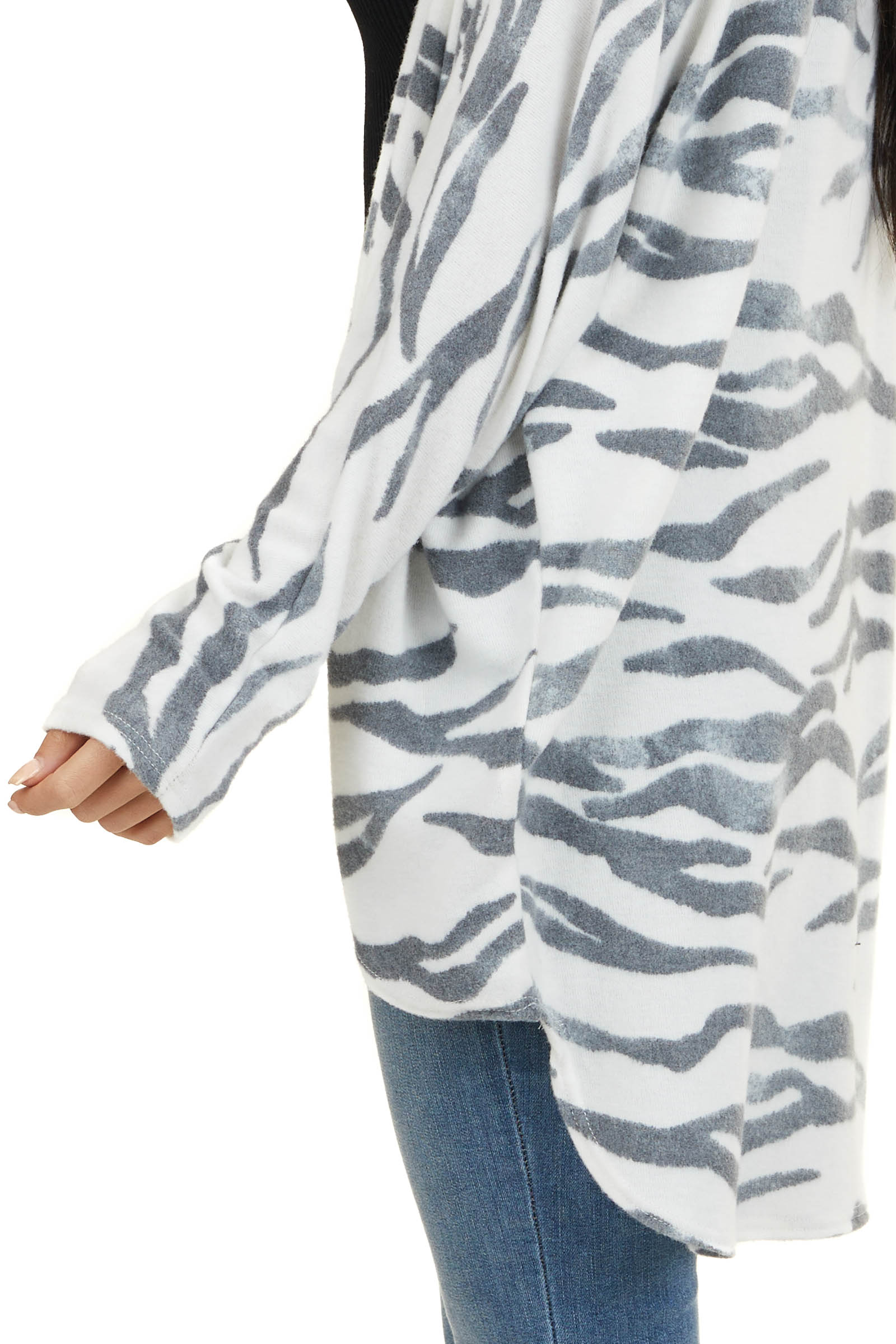 Charcoal and Ivory Animal Striped Long Sleeve Cardigan
