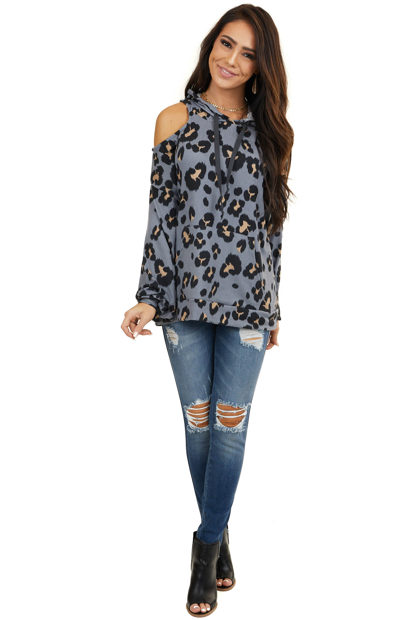 Dusty Blue Leopard Print One Cold Shoulder Hoodie