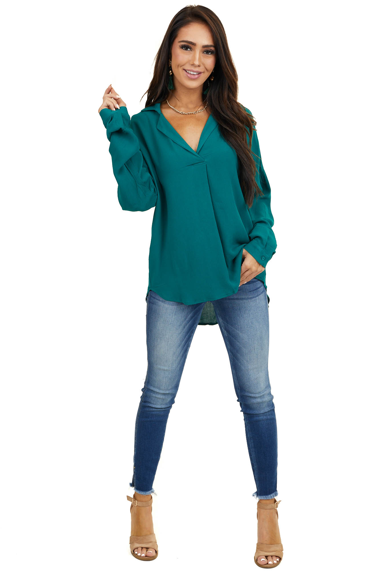 Hunter Green Collared Tunic Blouse with Cuffed Long Sleeves