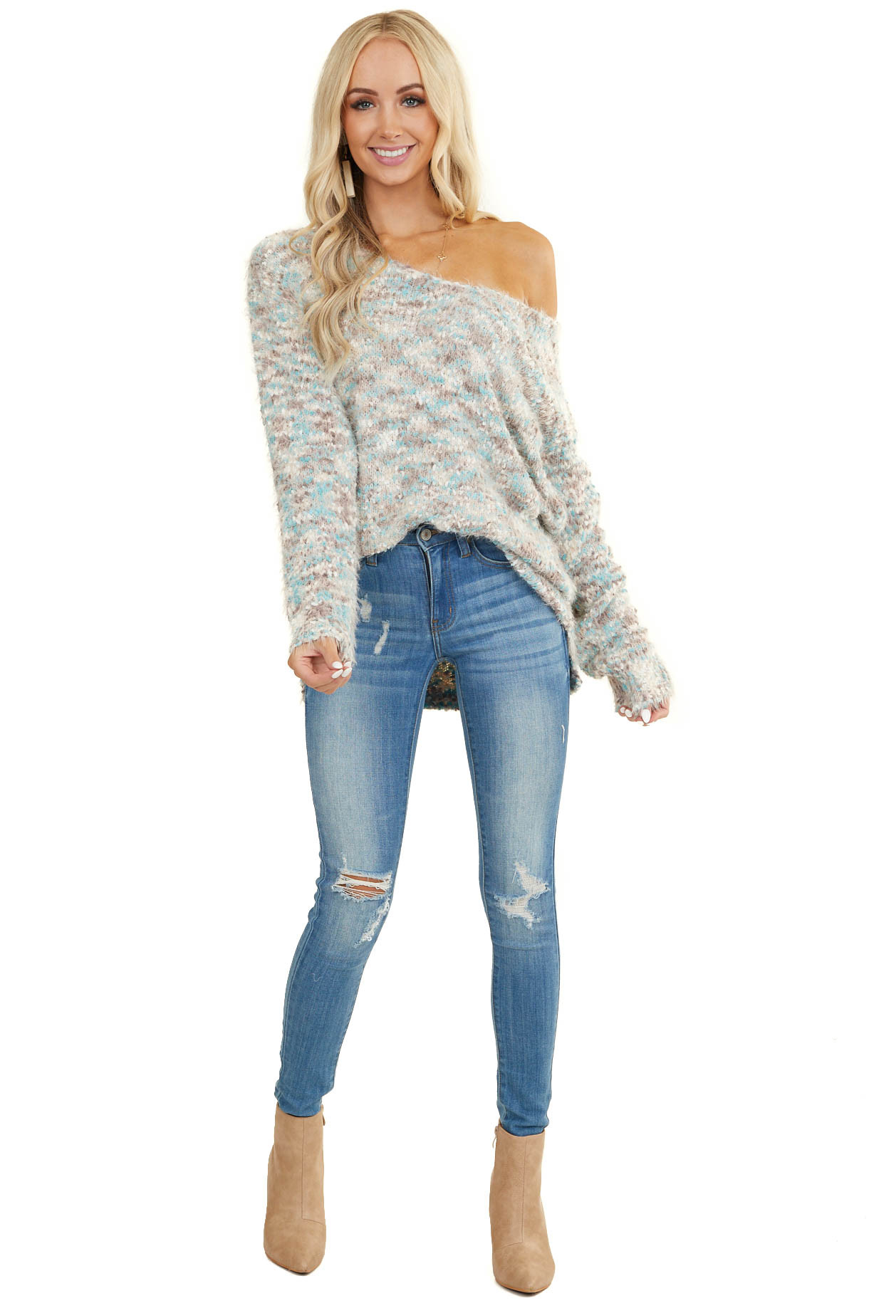 Teal Multicolor Soft Chunky Knit Sweater with Side Slits