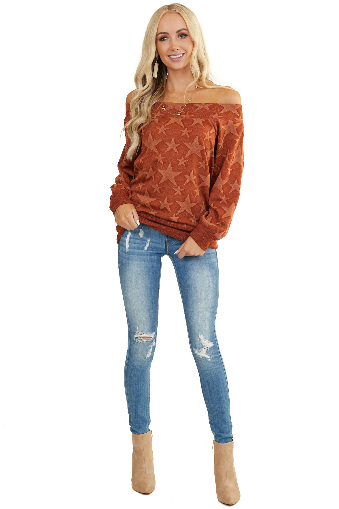 Burnt Orange Star Print Off Shoulder Long Sleeve Sweater