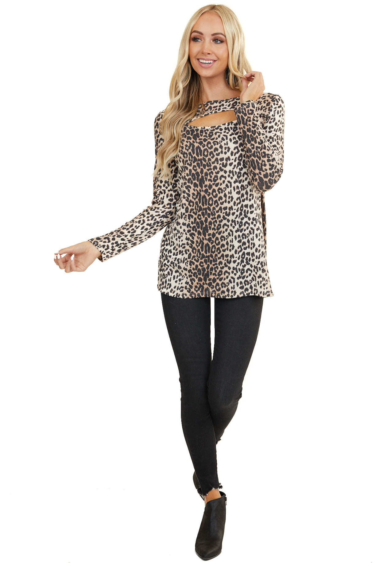 Mocha and Cream Leopard Print Long Sleeve Top with Cutout