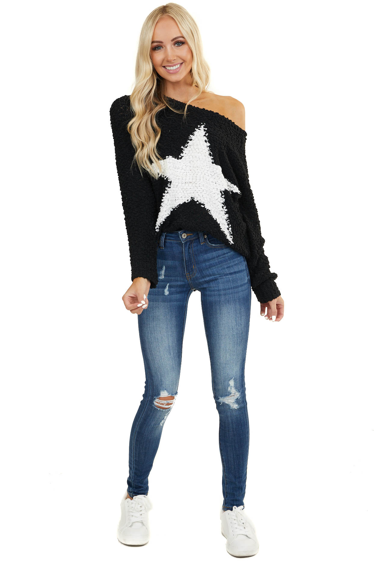 Black Popcorn Knit Soft Sweater with White Star