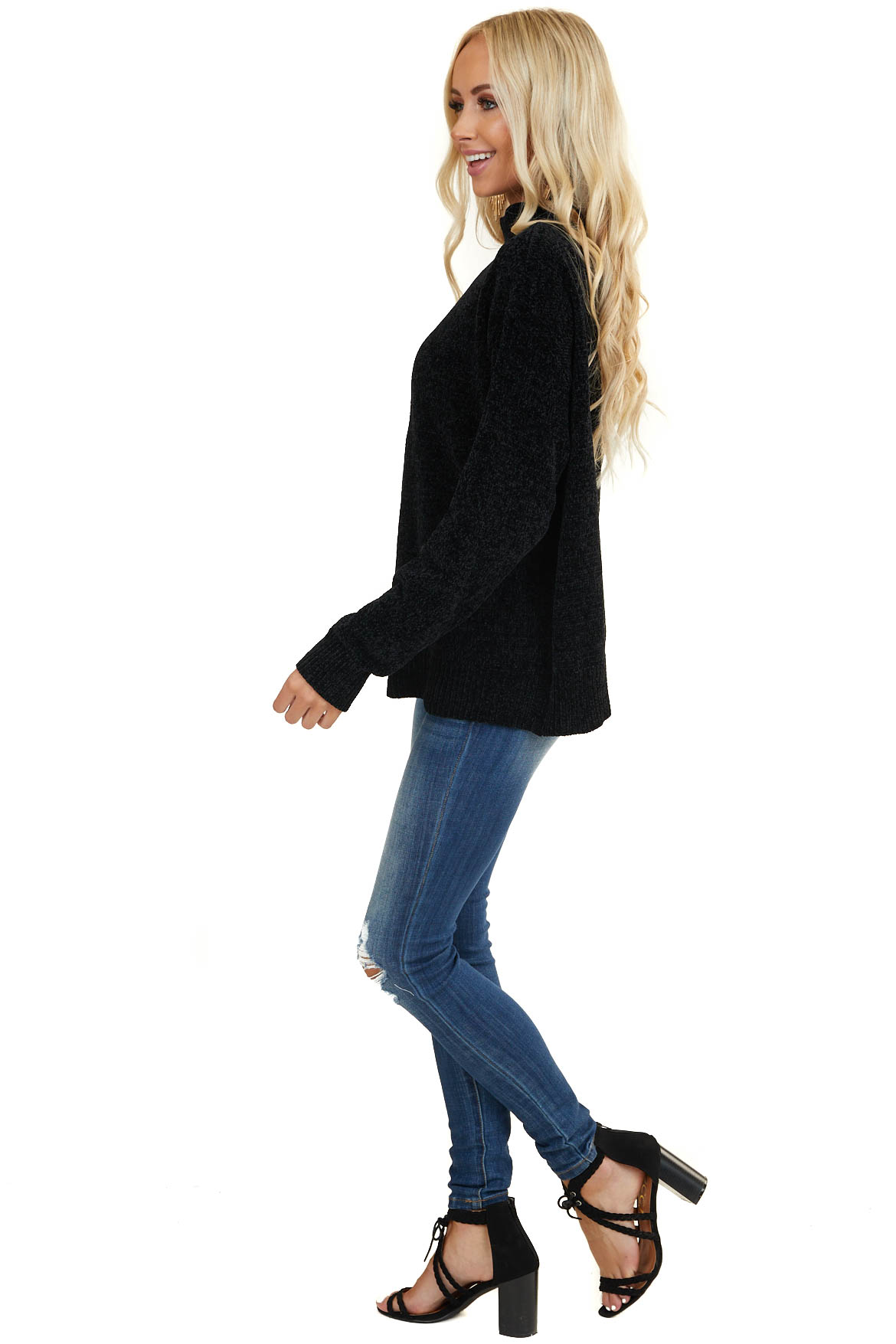 Black Cold Shoulder Chenille Sweater with Long Sleeves