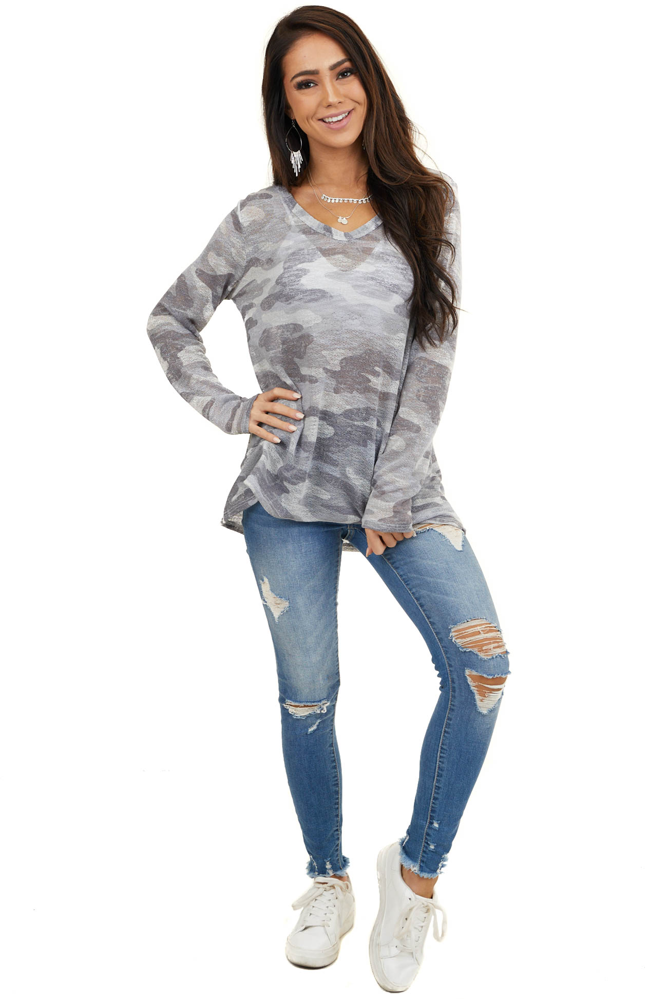 Stormy Grey Camo Long Sleeve Lightweight Loose Knit Top