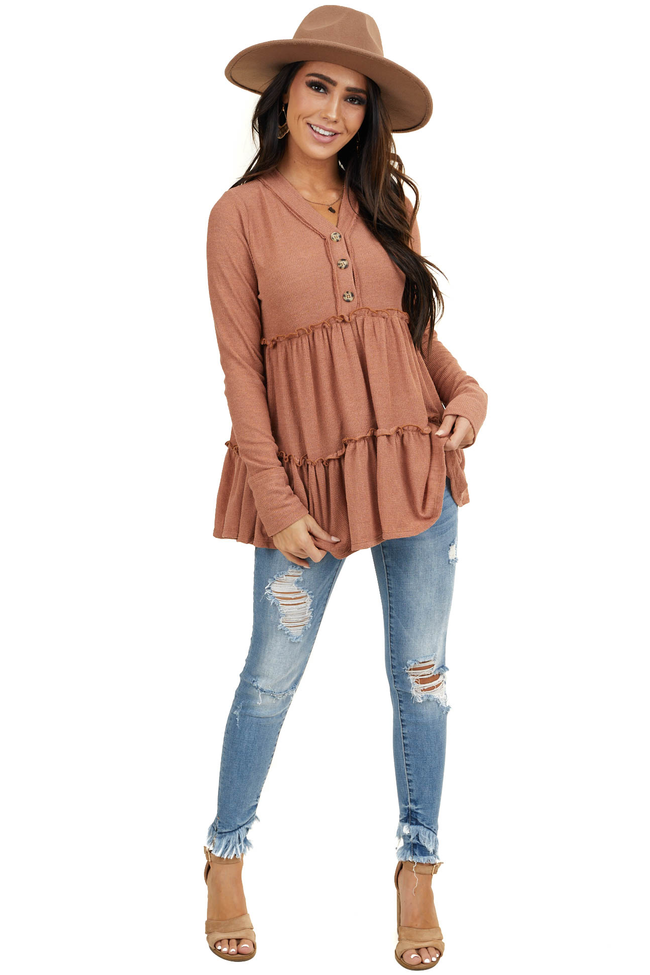 Terracotta Long Sleeve Babydoll Knit Top with Button Details