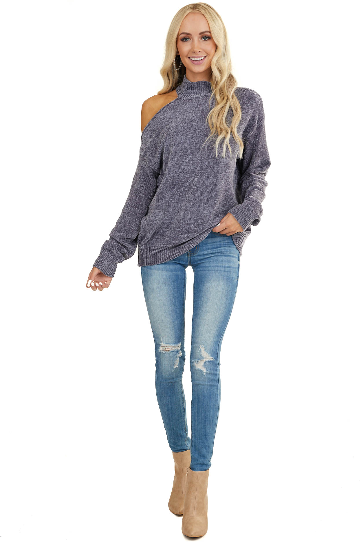 Charcoal Cold Shoulder Chenille Sweater with Long Sleeves