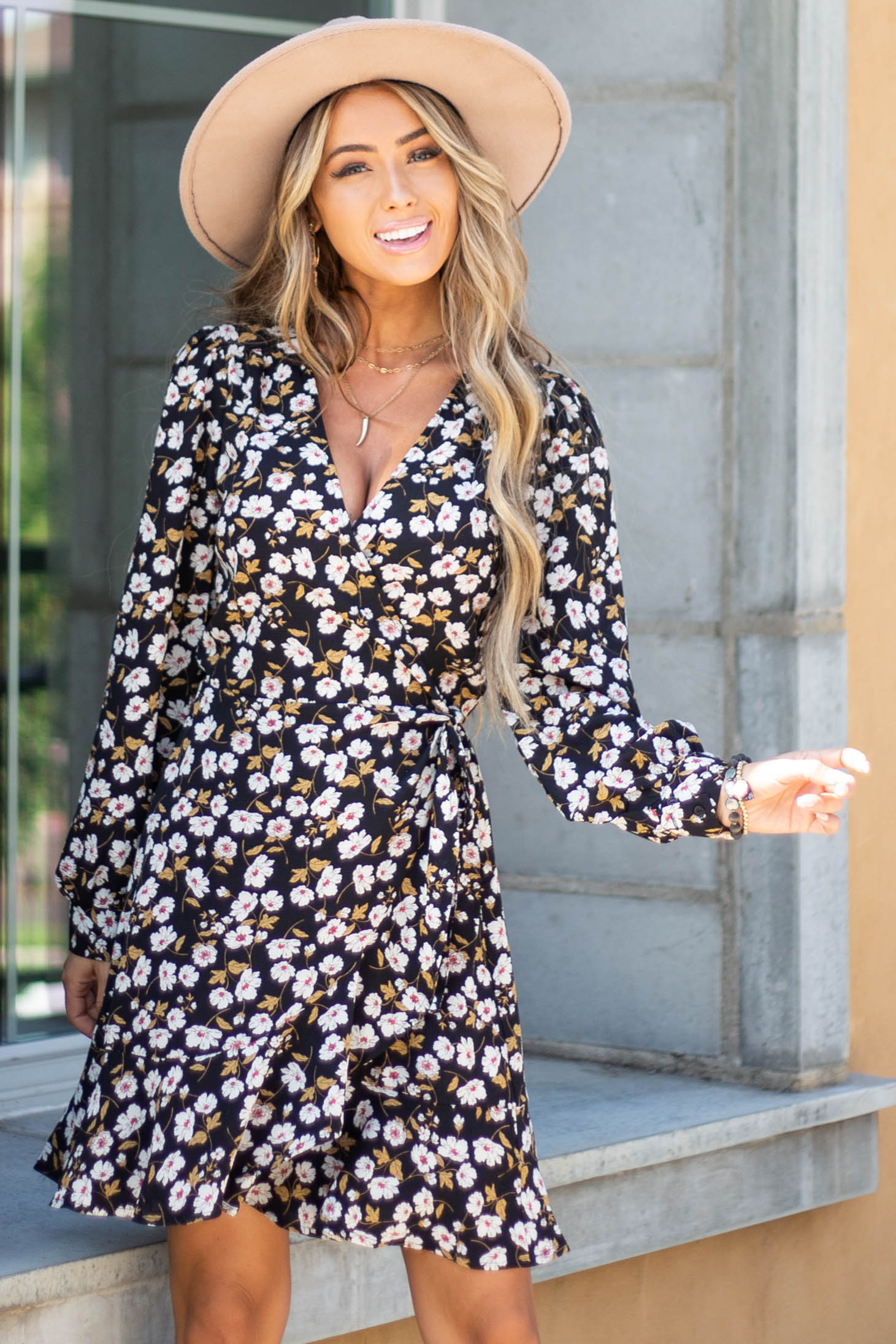 Black Floral Mini Wrap Dress with Long Bubble Sleeves