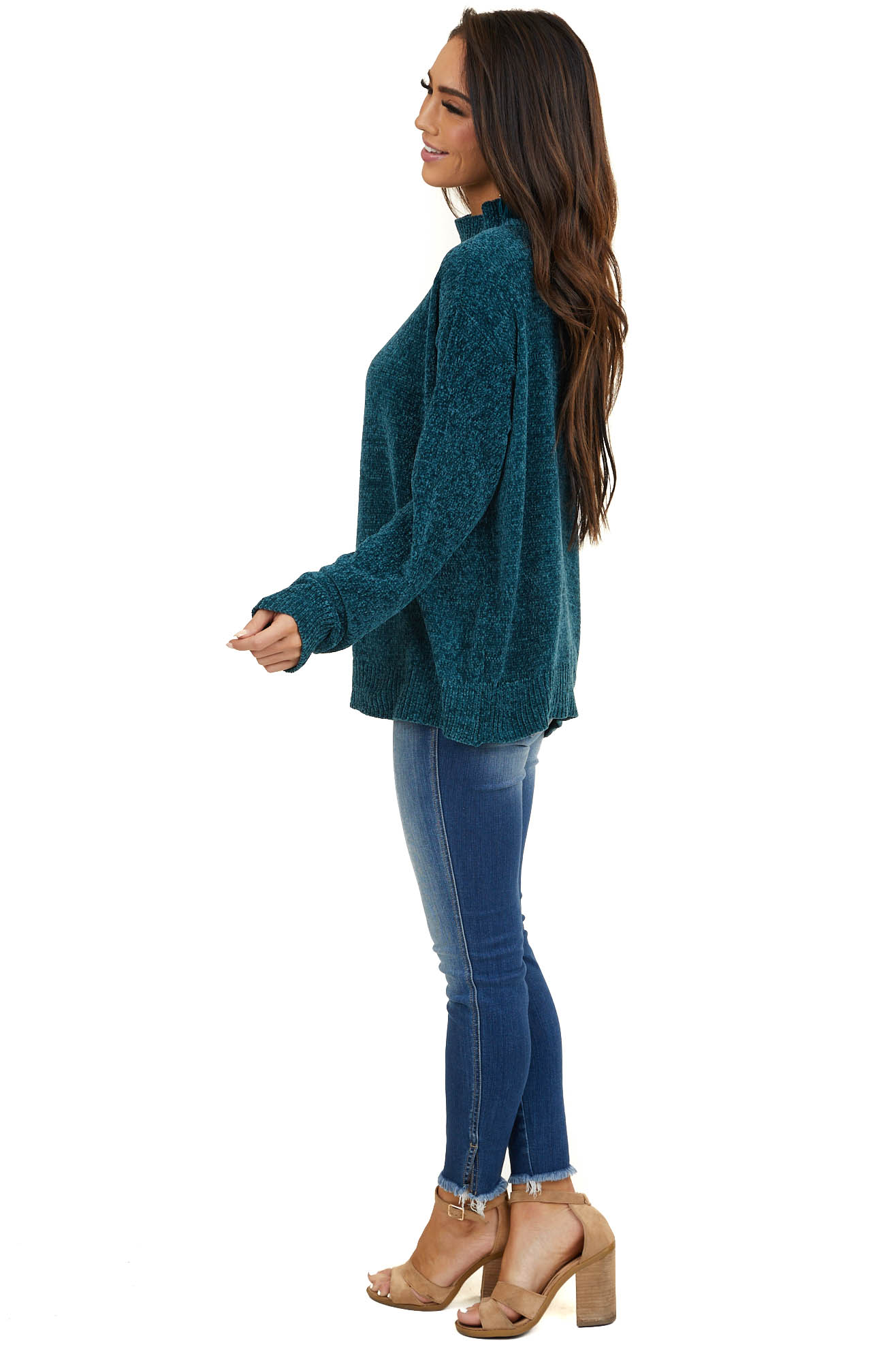 Dark Teal Cold Shoulder Chenille Sweater with Long Sleeves