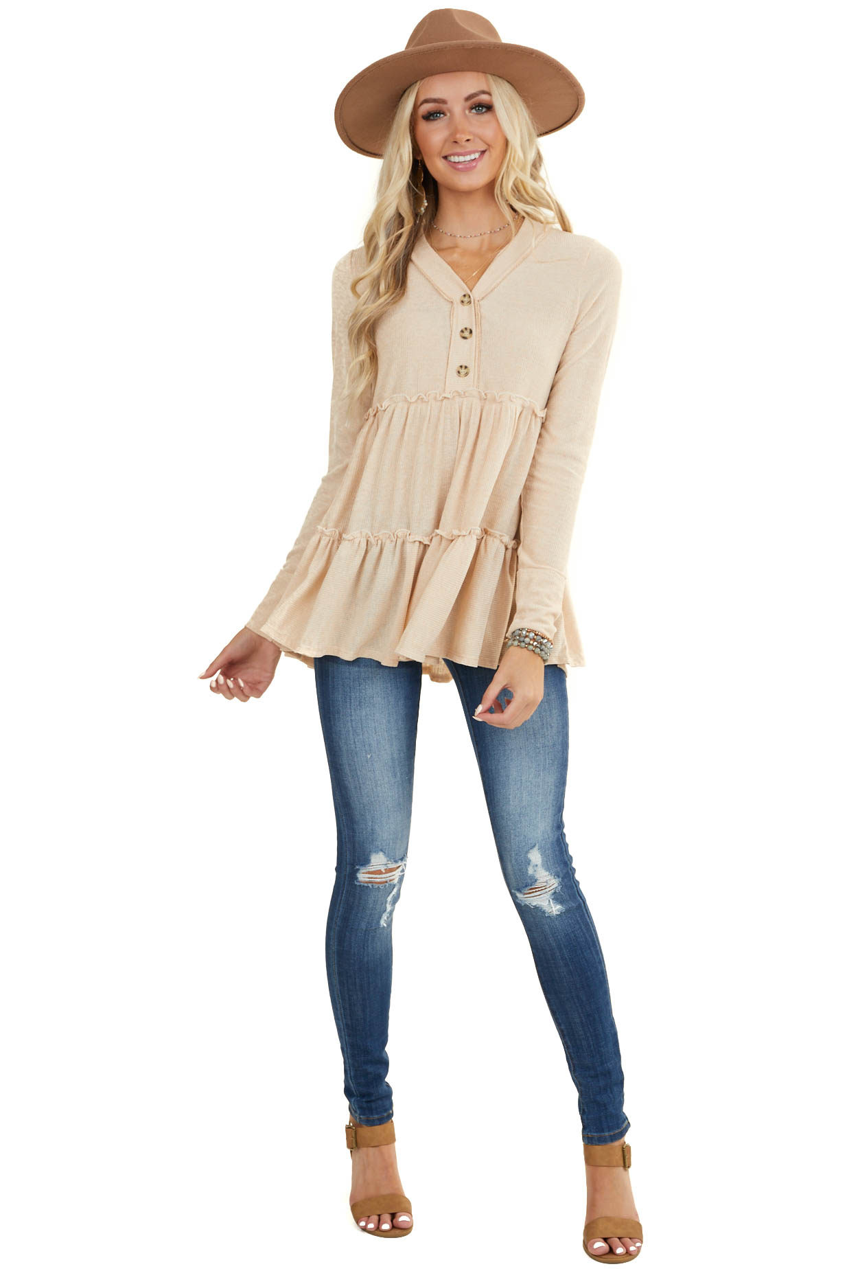 Desert Sand Long Sleeve Babydoll Knit Top with Button Detail