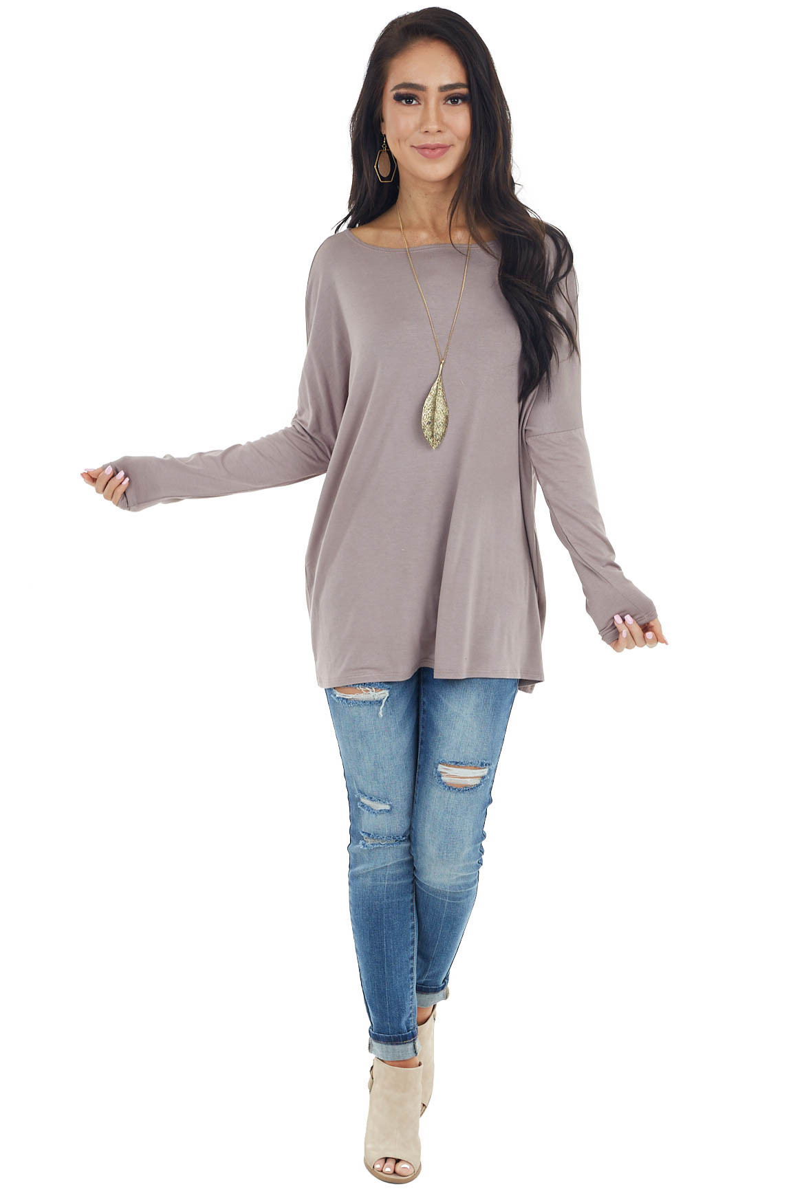 Taupe Long Sleeve Knit Top with Off Shoulder Neckline