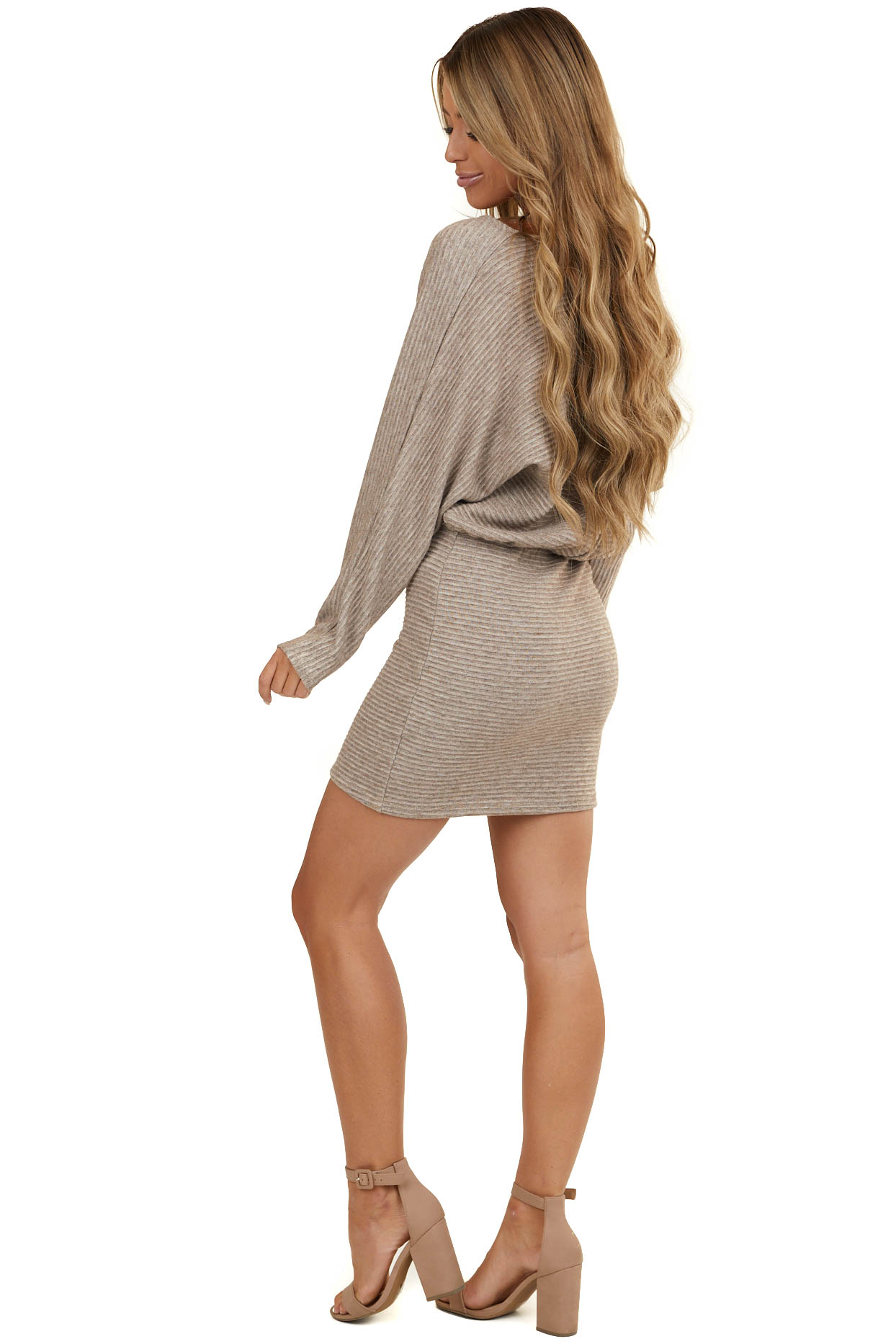 Taupe Textured Surplice Mini Dress with Long Dolman Sleeves