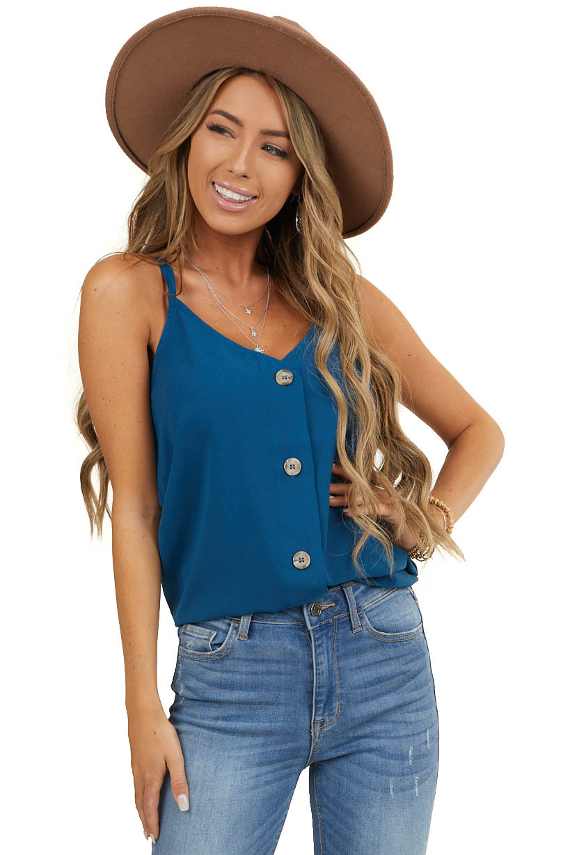 Dark Teal Button Up Tank Top with Criss Cross Straps