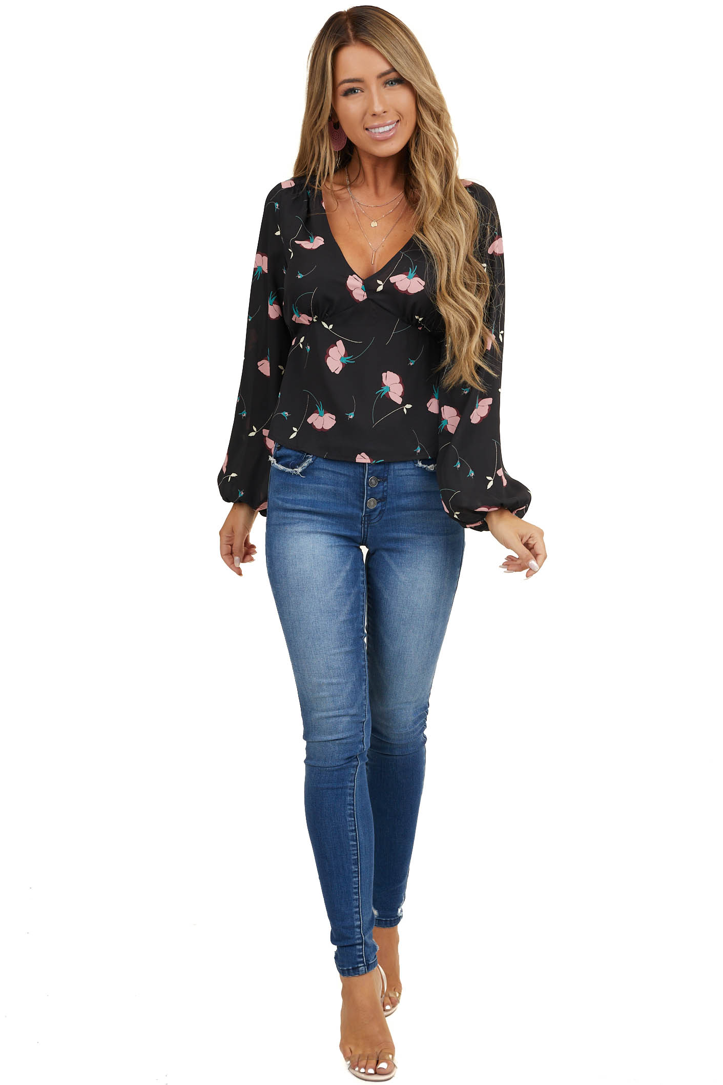 Black Floral Print Blouse with Long Cuffed Bubble Sleeves