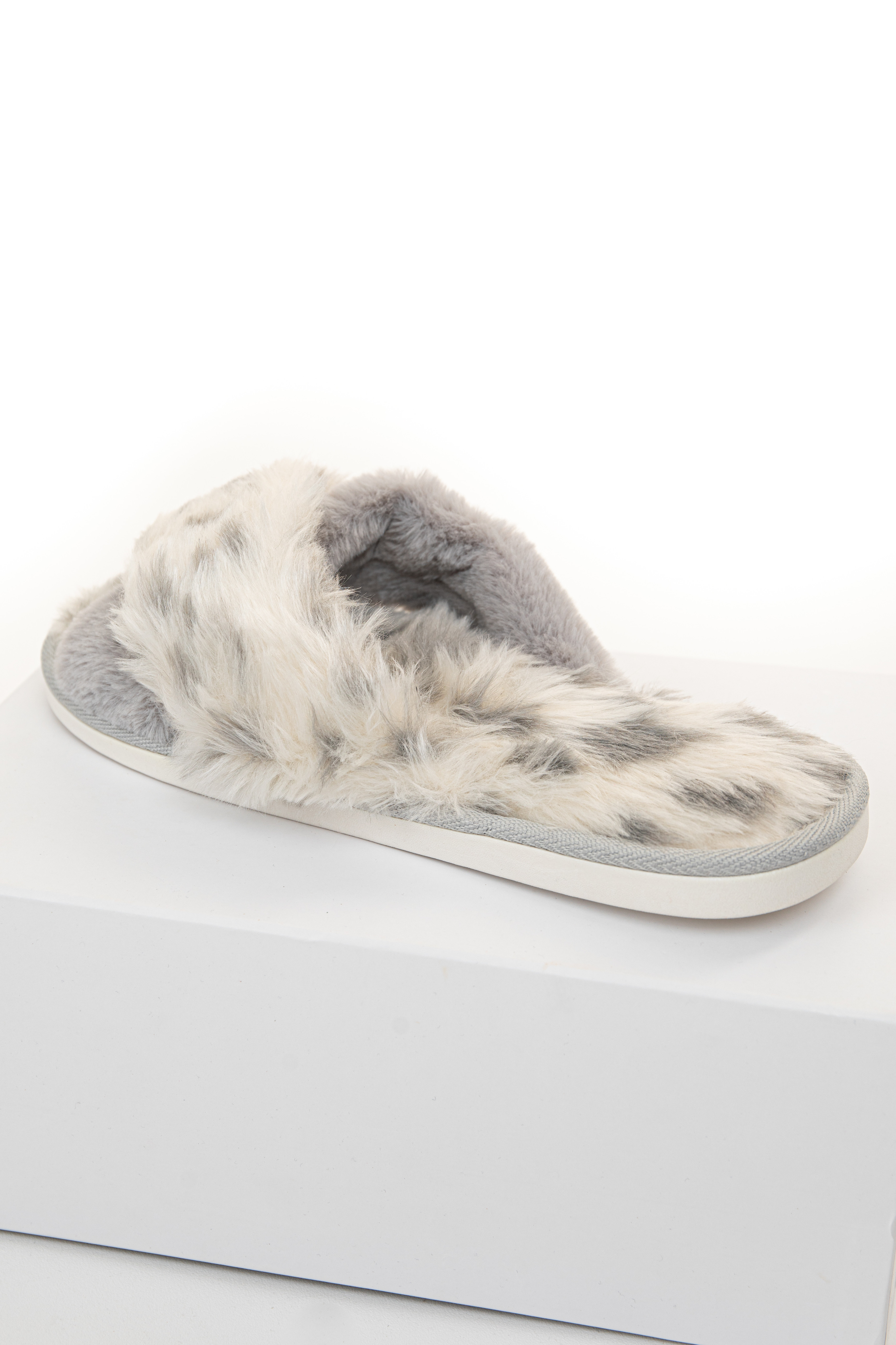 Grey and Ivory Spotted Faux Fur Slippers with Foam Sole